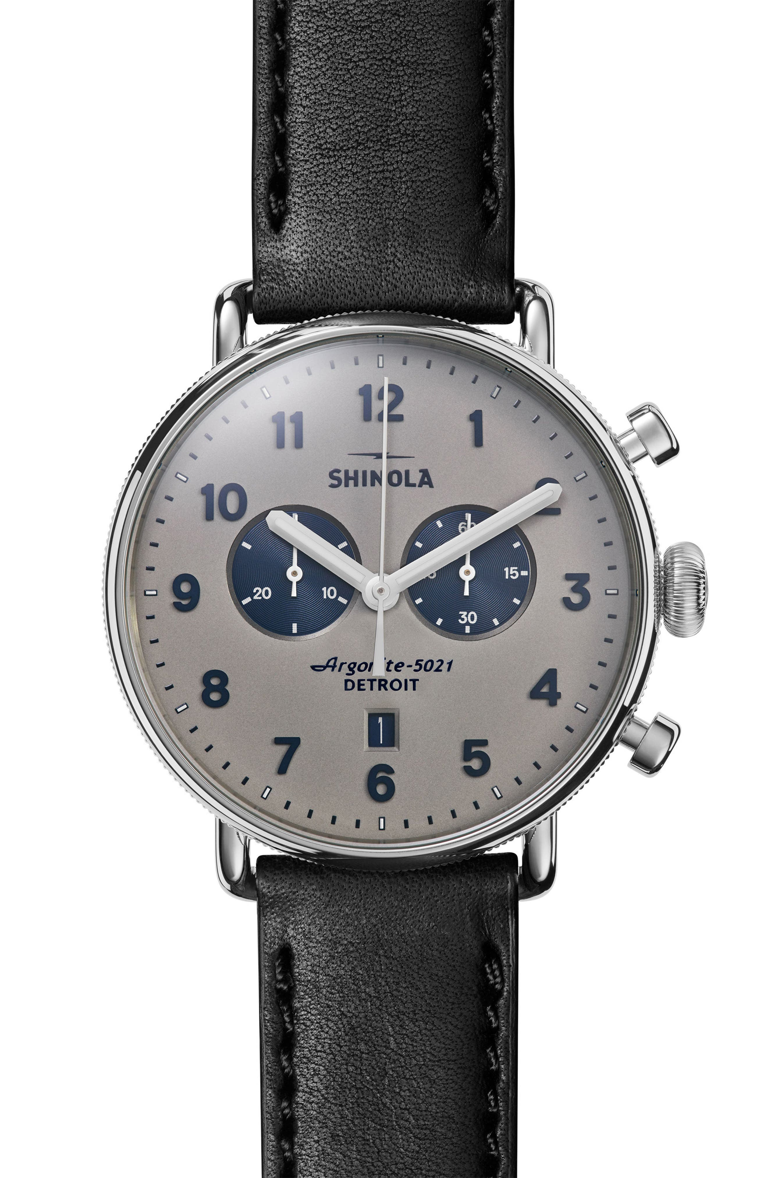 The Canfield Chrono Leather Strap Watch, 43mm,                         Main,                         color, Black/ Grey/ Silver
