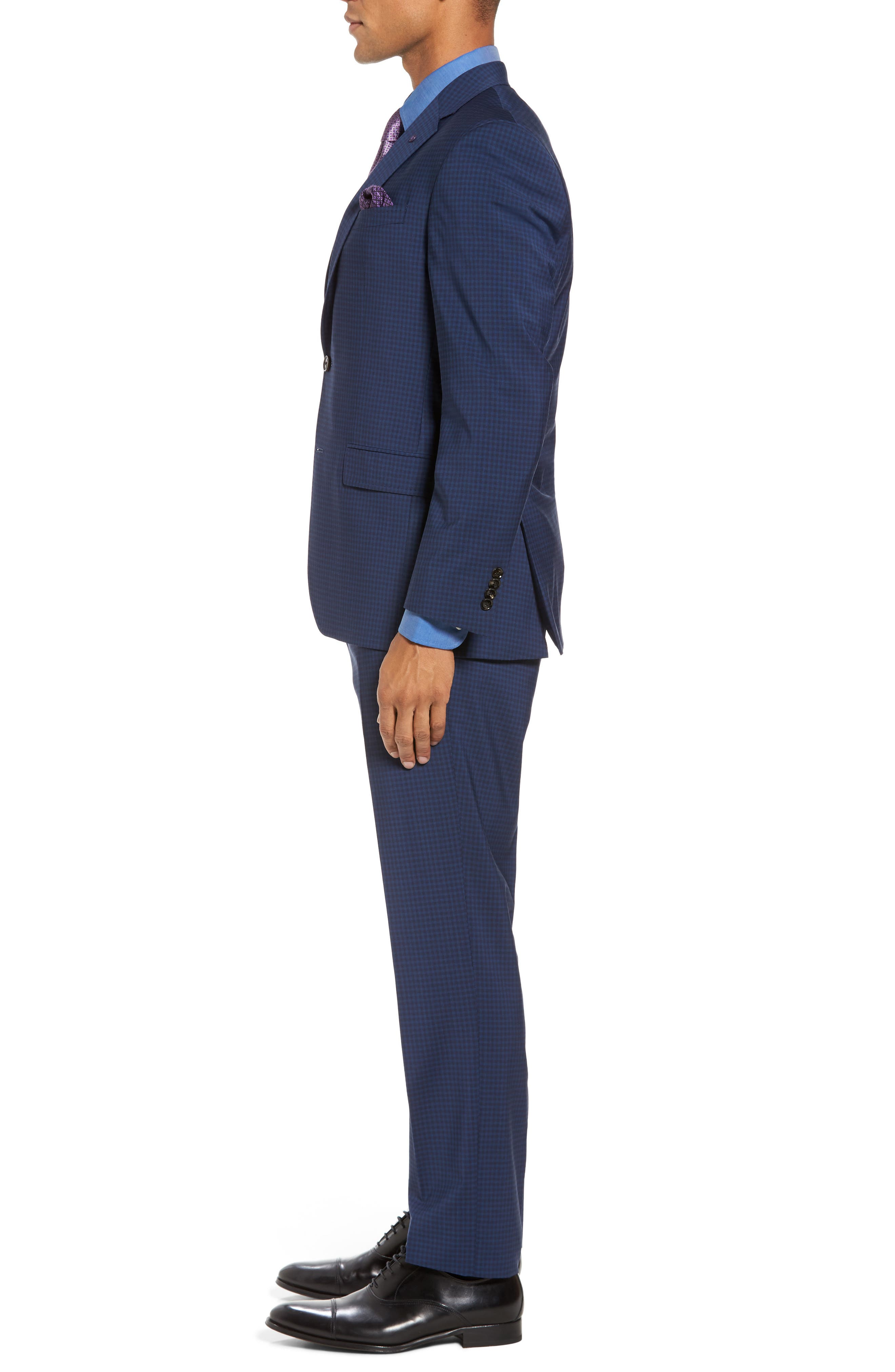Jay Trim Fit Stretch Wool Suit,                             Alternate thumbnail 3, color,                             Blue