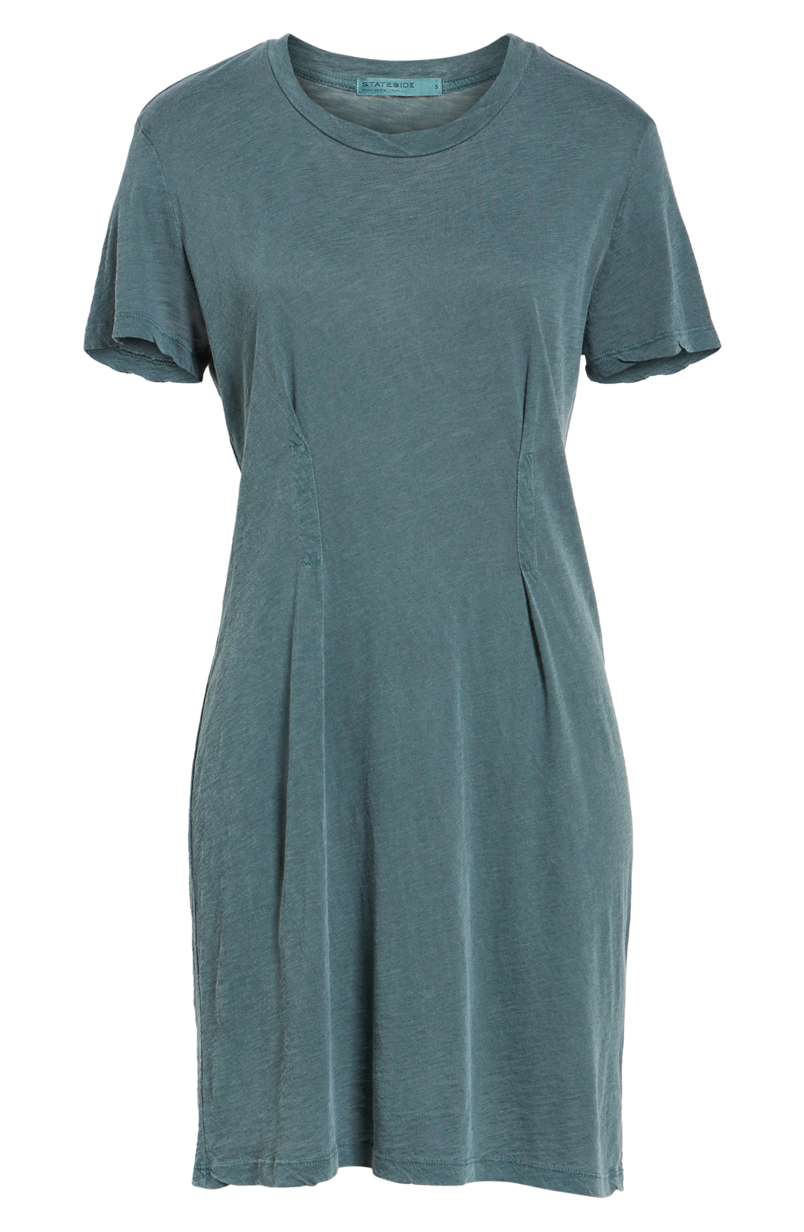 Pleat T-Shirt Dress,                             Alternate thumbnail 6, color,                             Pine