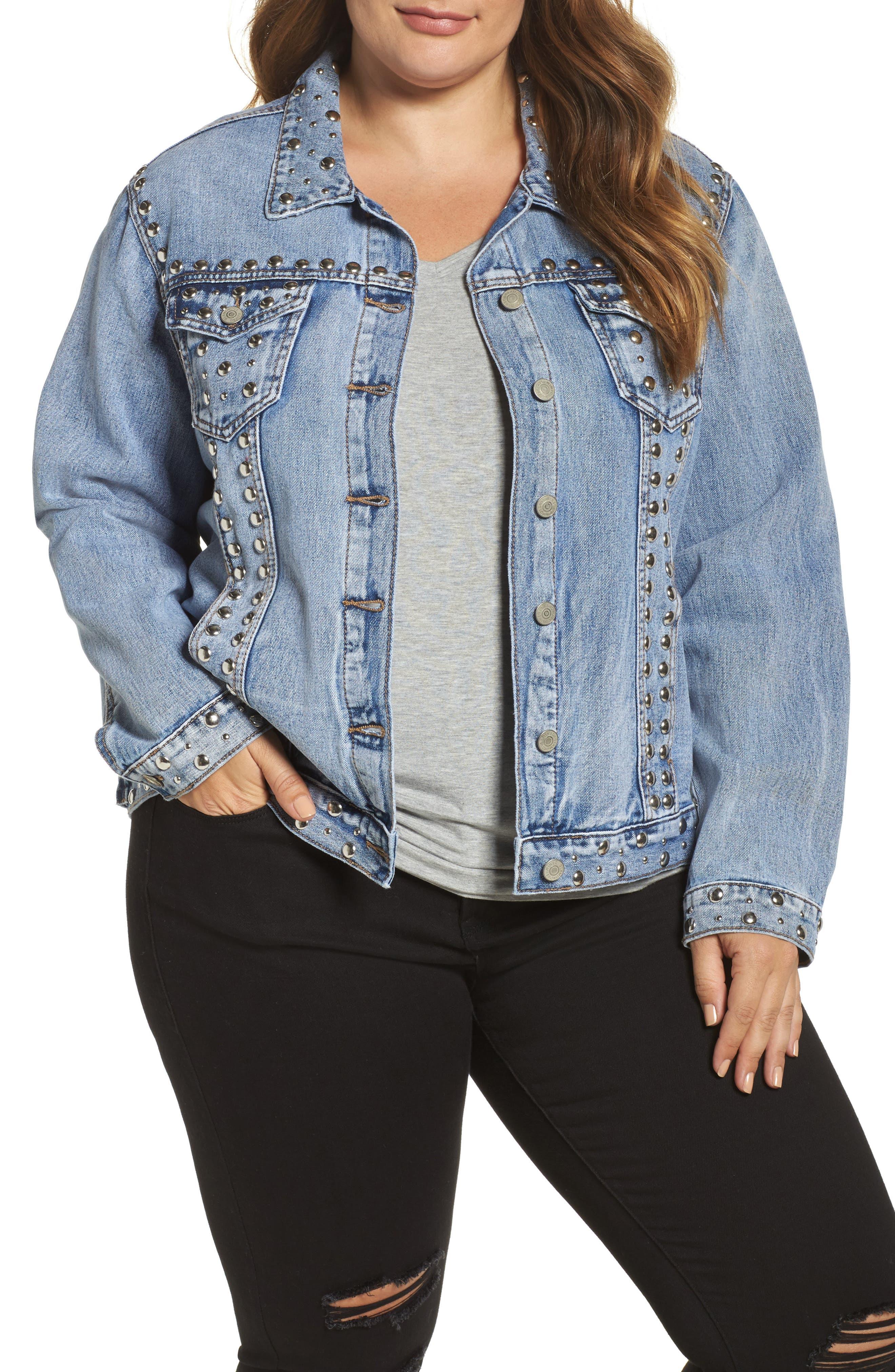 Main Image - Glamorous Studded Jean Jacket (Antique) (Plus Size)
