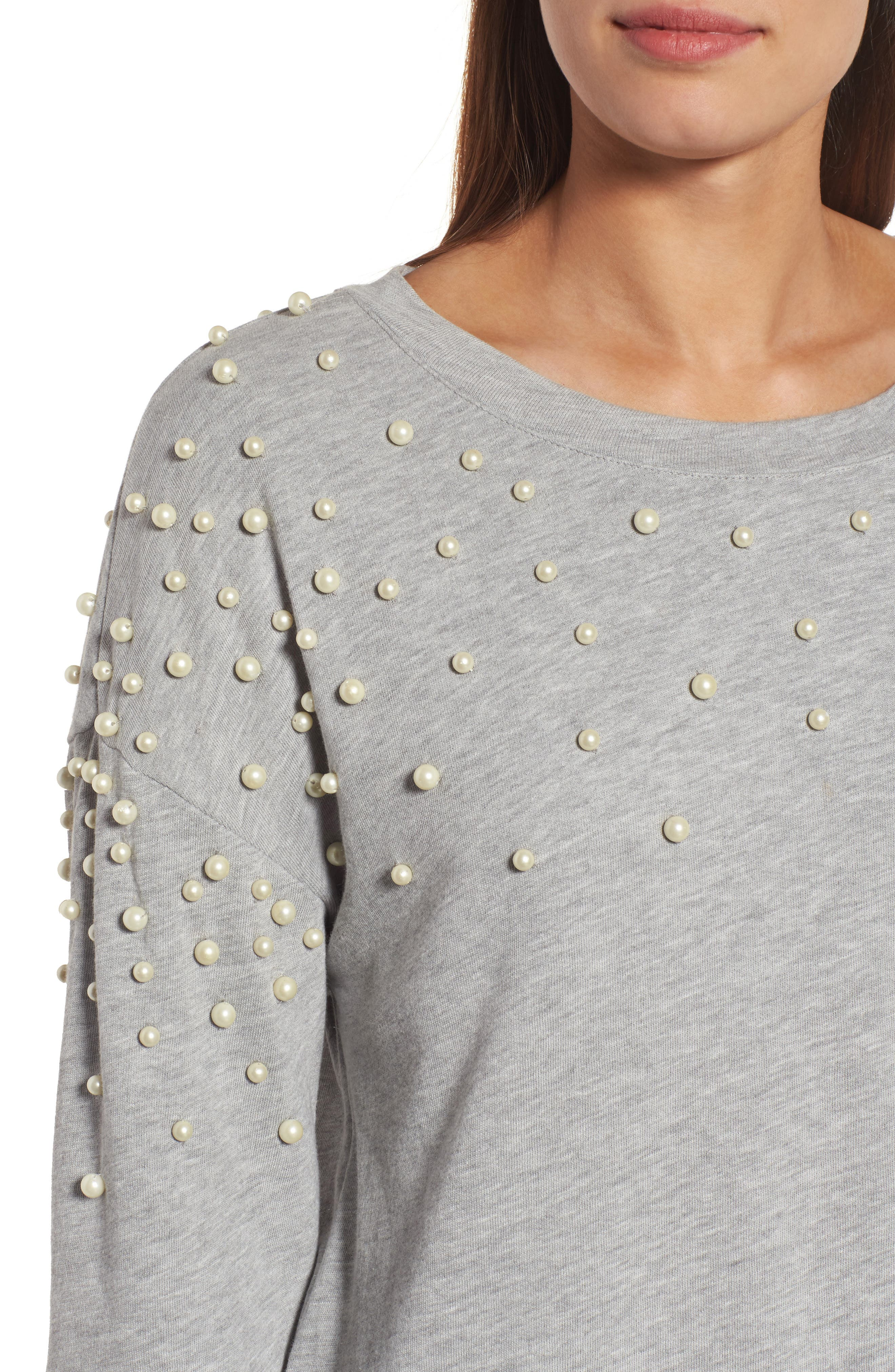 Alternate Image 4  - Halogen® Beaded Sweatshirt (Regular & Petite)