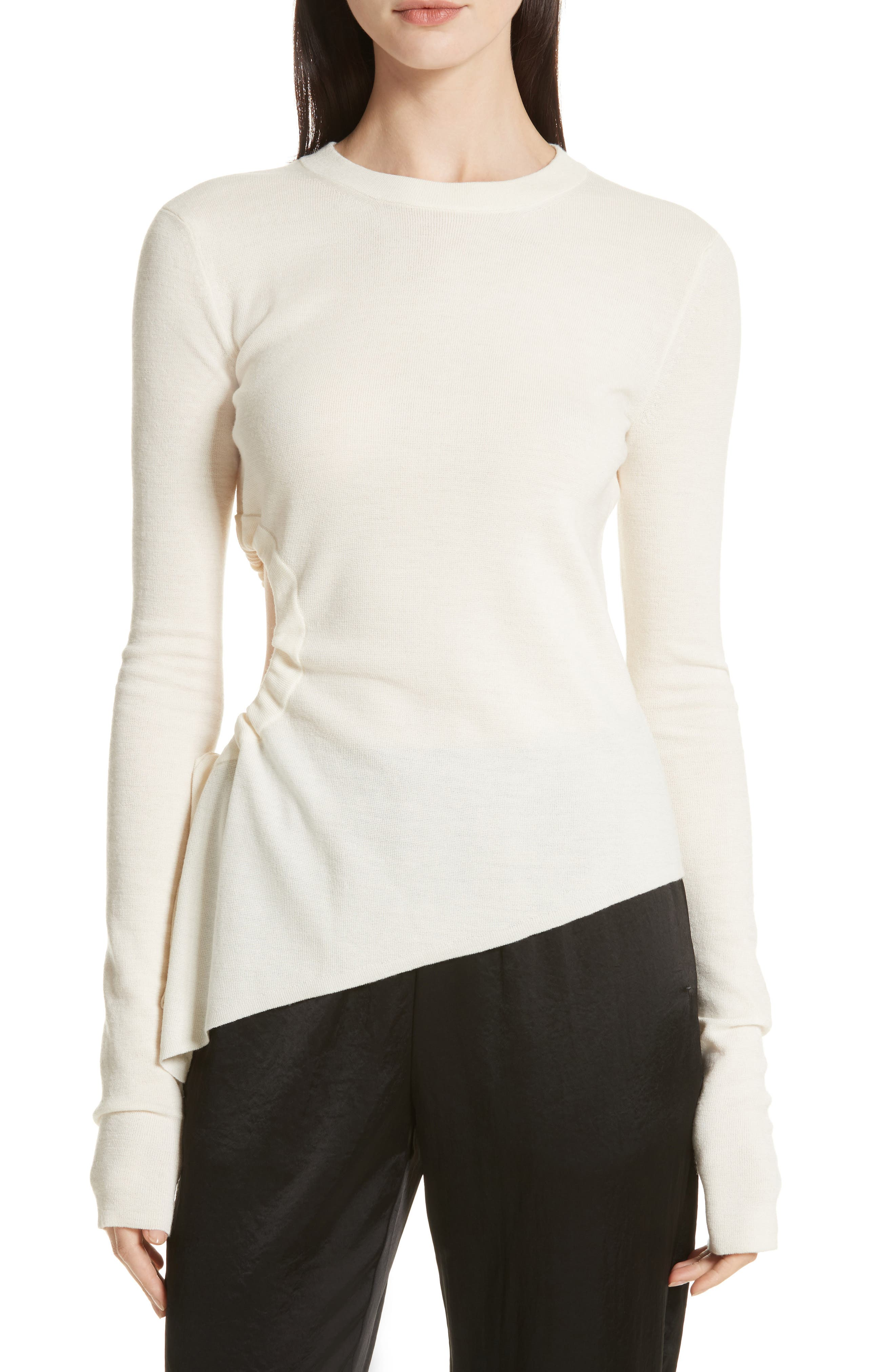 Ruched Cutout Merino Wool Sweater,                         Main,                         color, Ivory