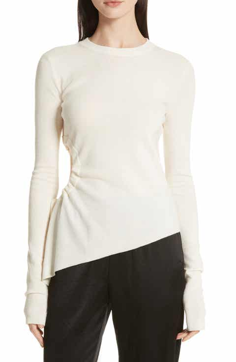 T by Alexander Wang Ruched Cutout Merino Wool Sweater