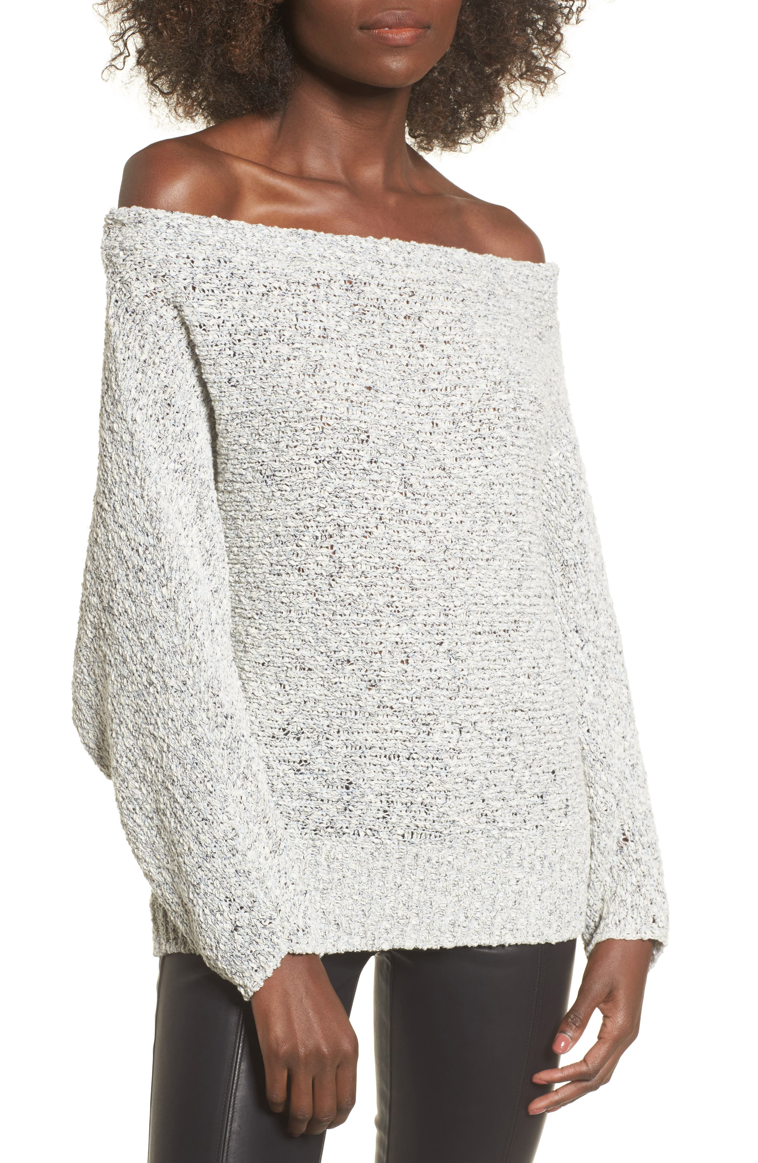 Textured Off the Shoulder Sweater,                         Main,                         color, Grey Micro
