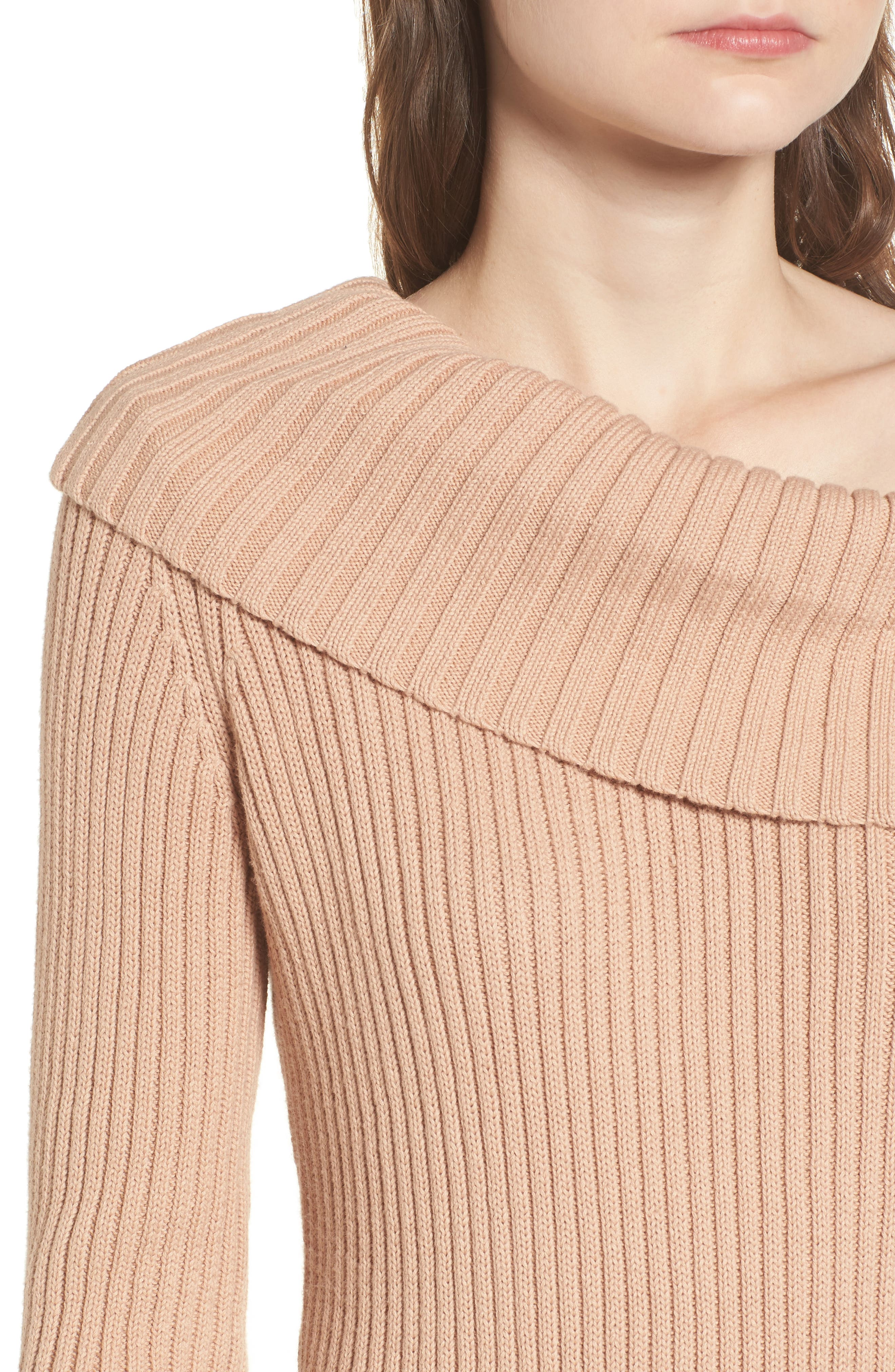 Like a Melody Off the Shoulder Dress,                             Alternate thumbnail 4, color,                             Dusty Pink