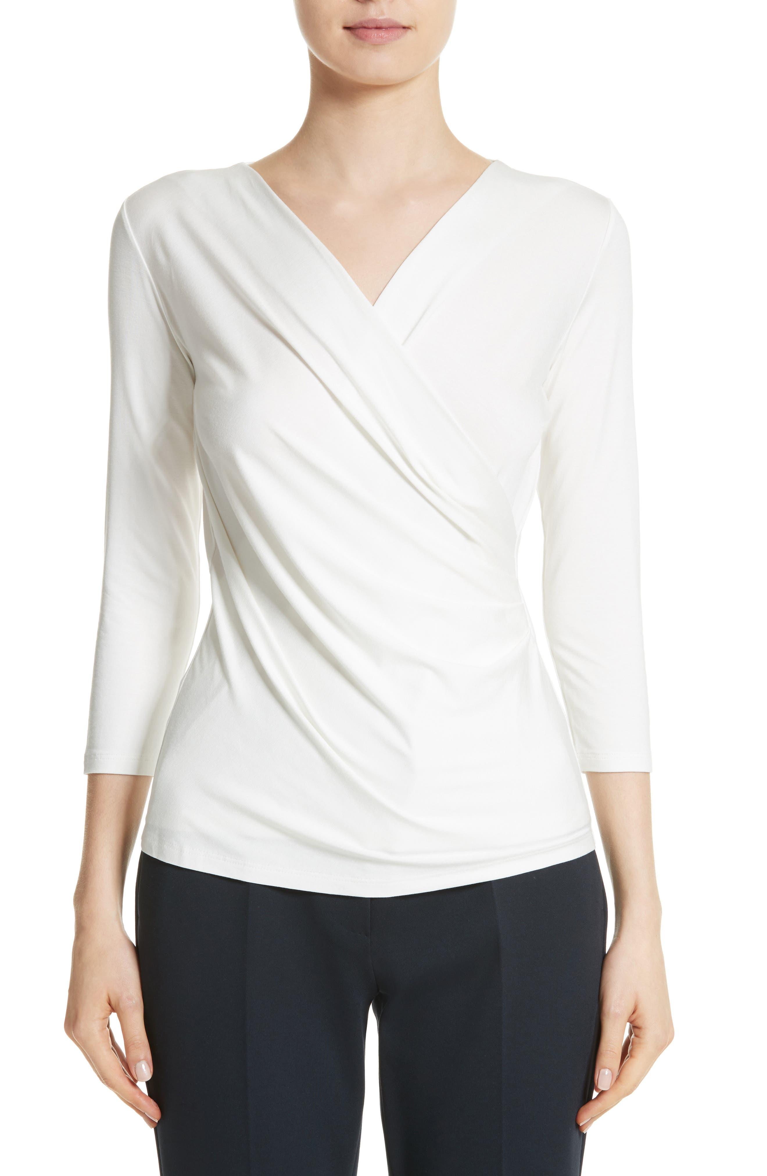 Caprice Faux Wrap Jersey Top,                         Main,                         color, Silk