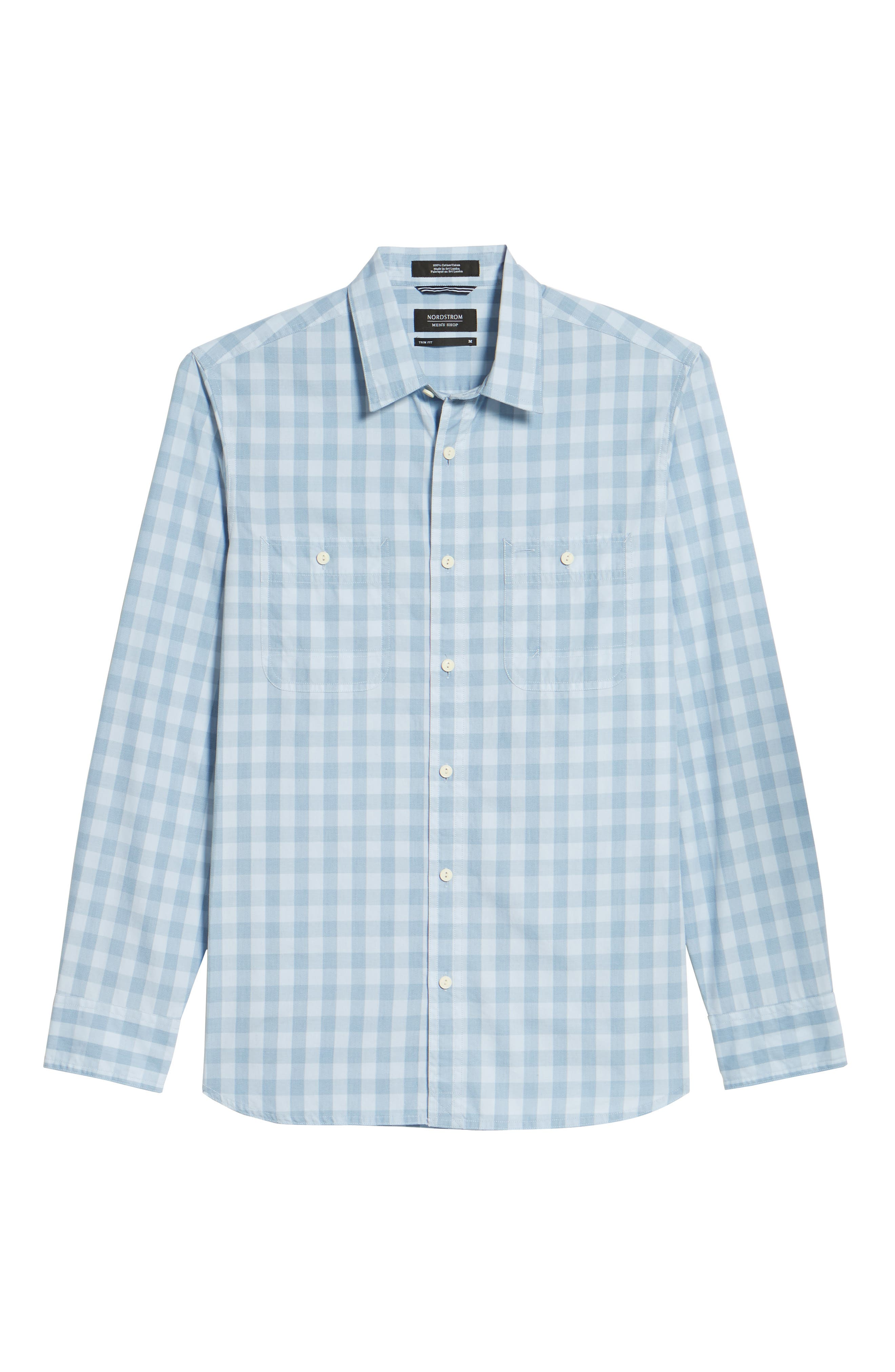 Trim Fit Washed Check Workwear Shirt,                             Alternate thumbnail 6, color,                             Blue Cashmere Check