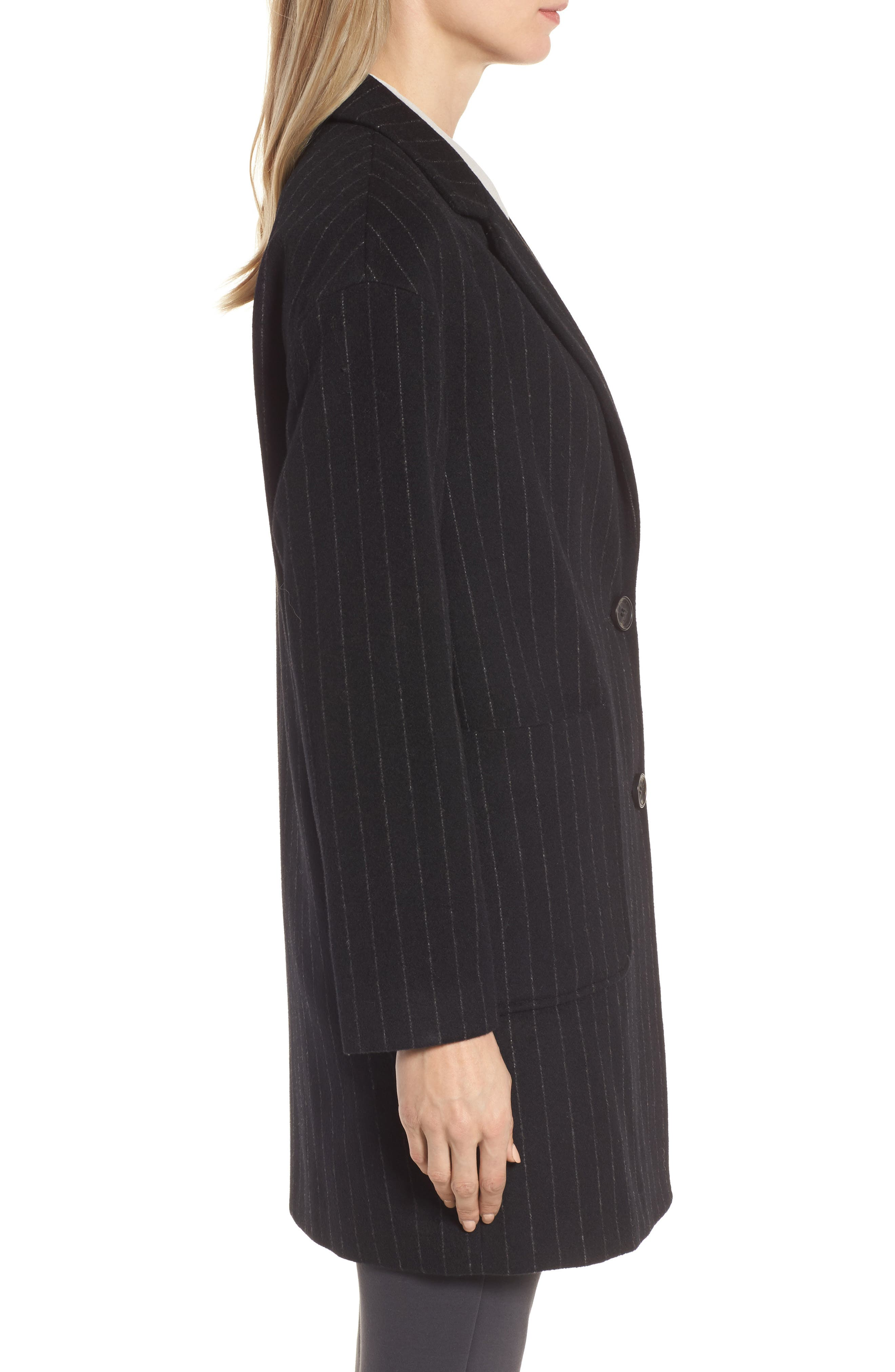 DKNY Pinstripe Wool Blend Coat,                             Alternate thumbnail 3, color,                             Black