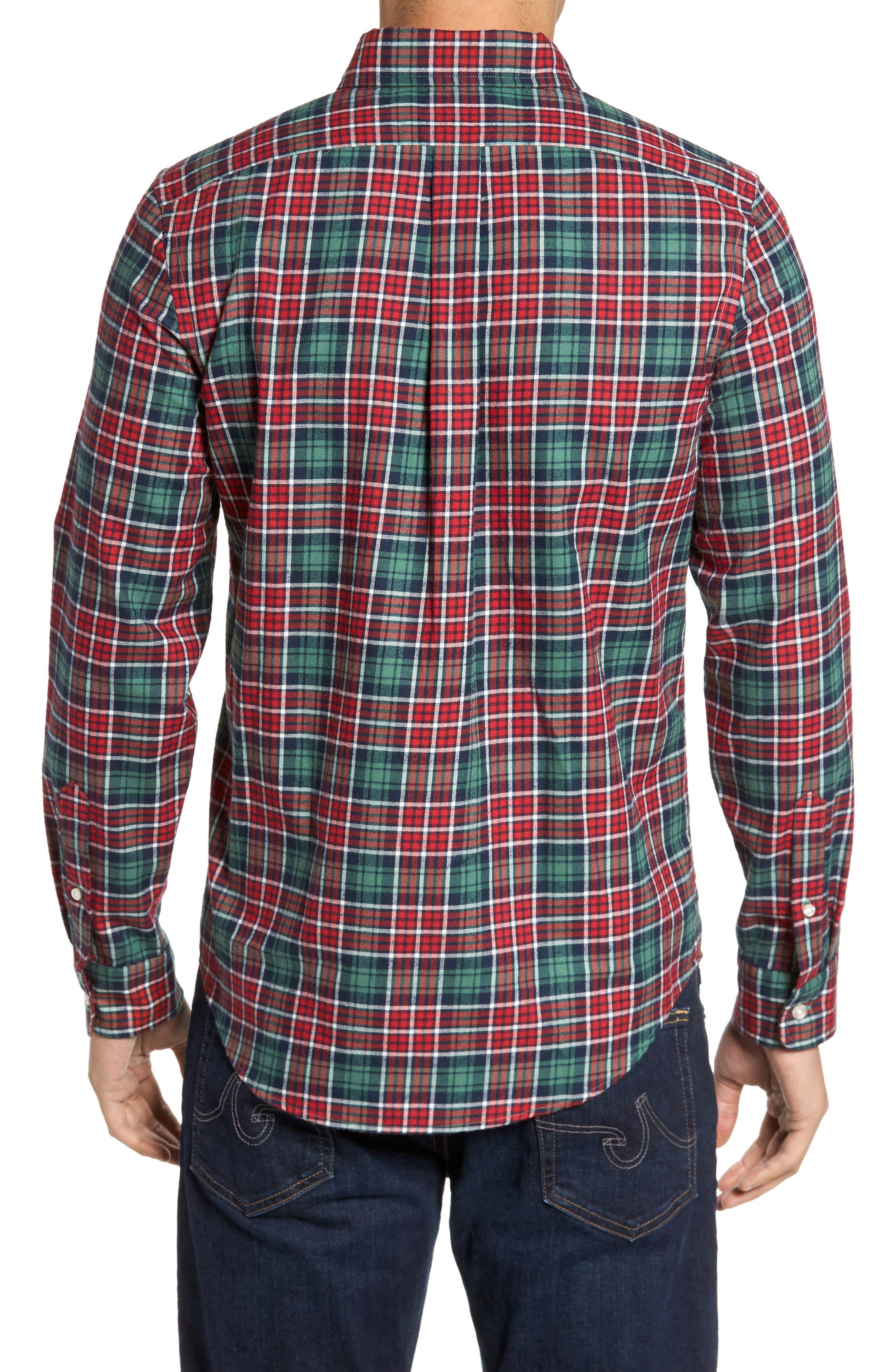 Tucker Bold Point Slim Fit Plaid Sport Shirt,                             Alternate thumbnail 2, color,                             Charleston Green