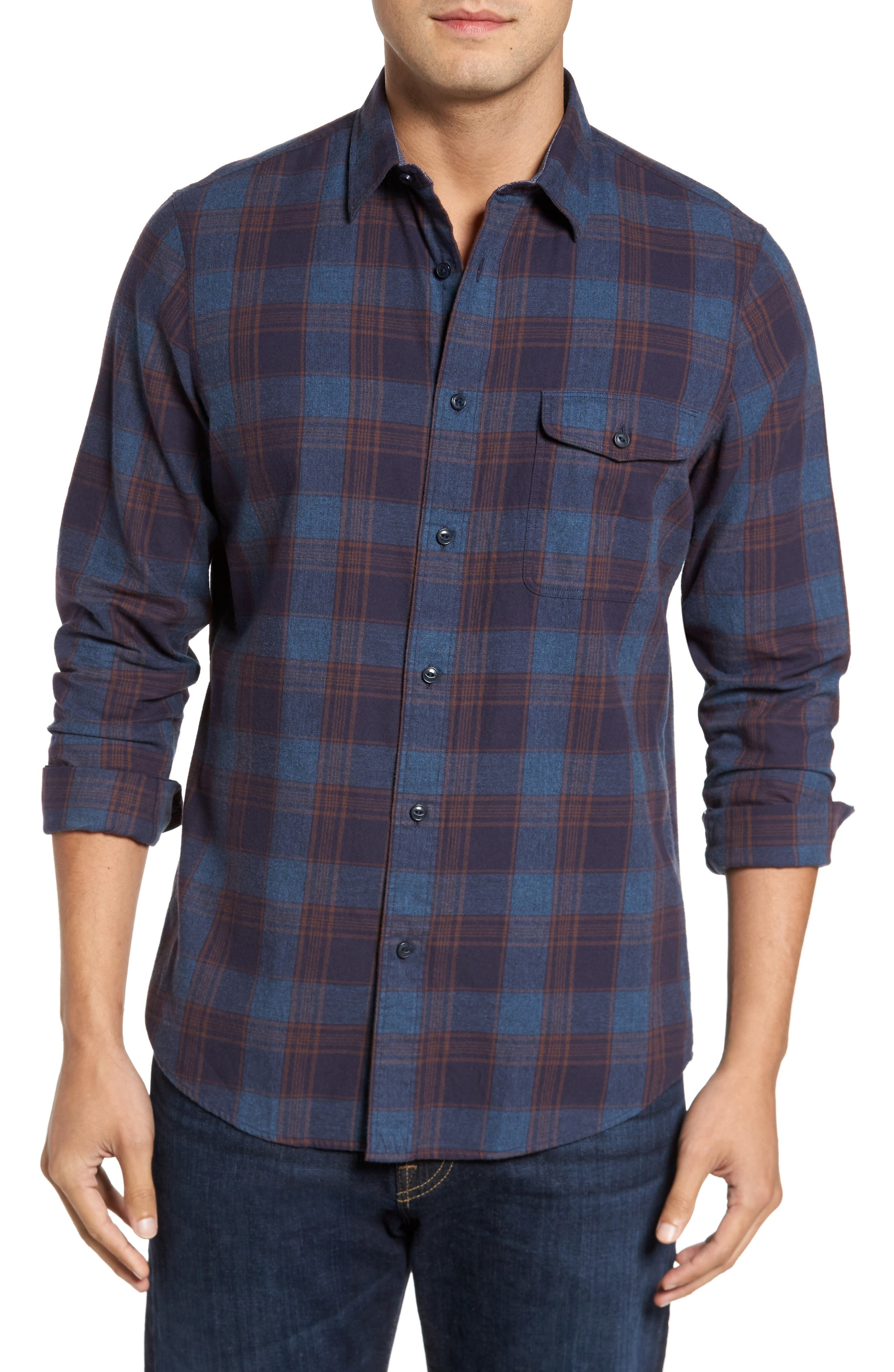 Regular Fit Lumber Check Flannel Shirt,                         Main,                         color, Blue Canal Navy Plaid