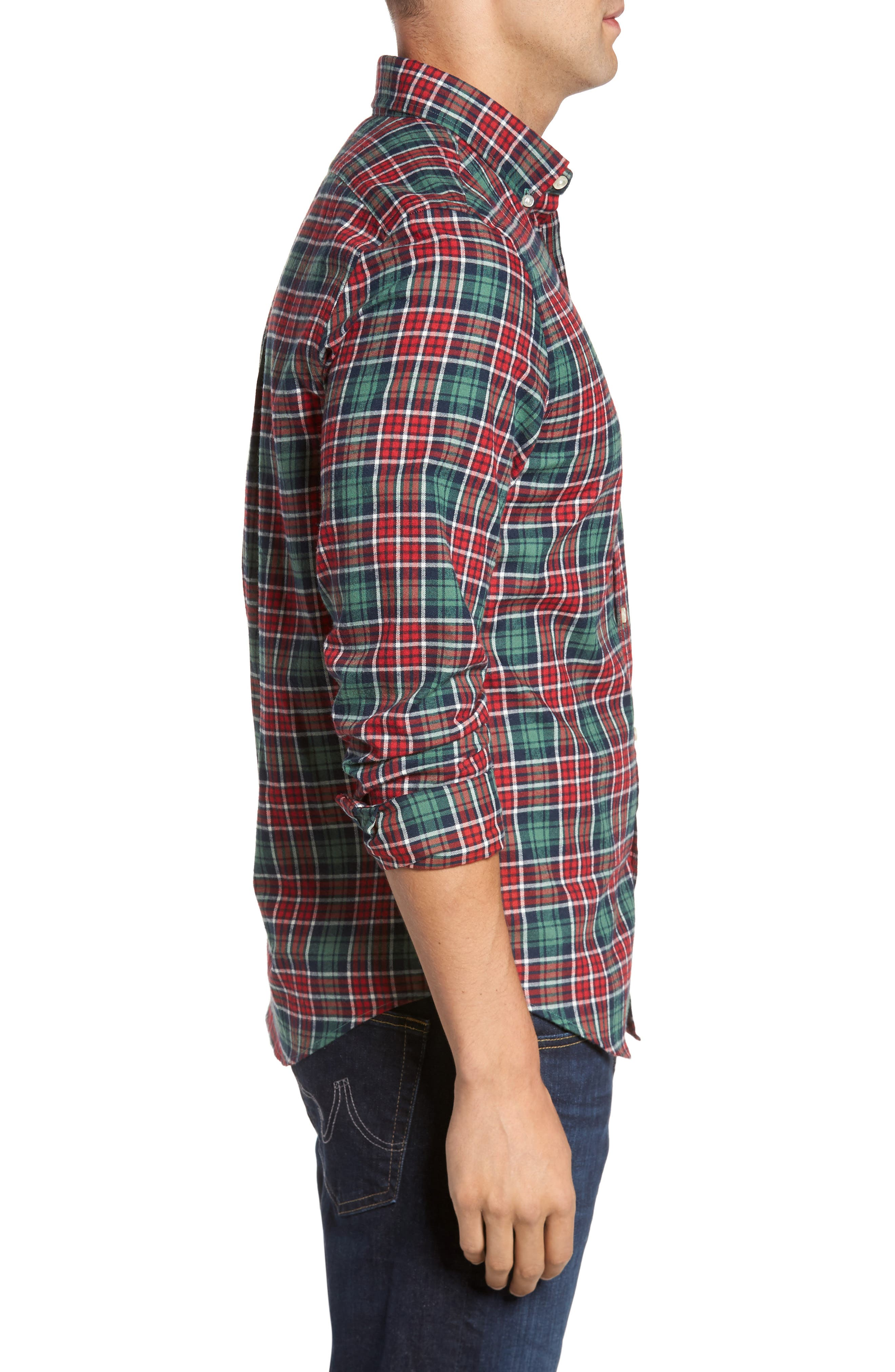 Tucker Bold Point Slim Fit Plaid Sport Shirt,                             Alternate thumbnail 3, color,                             Charleston Green