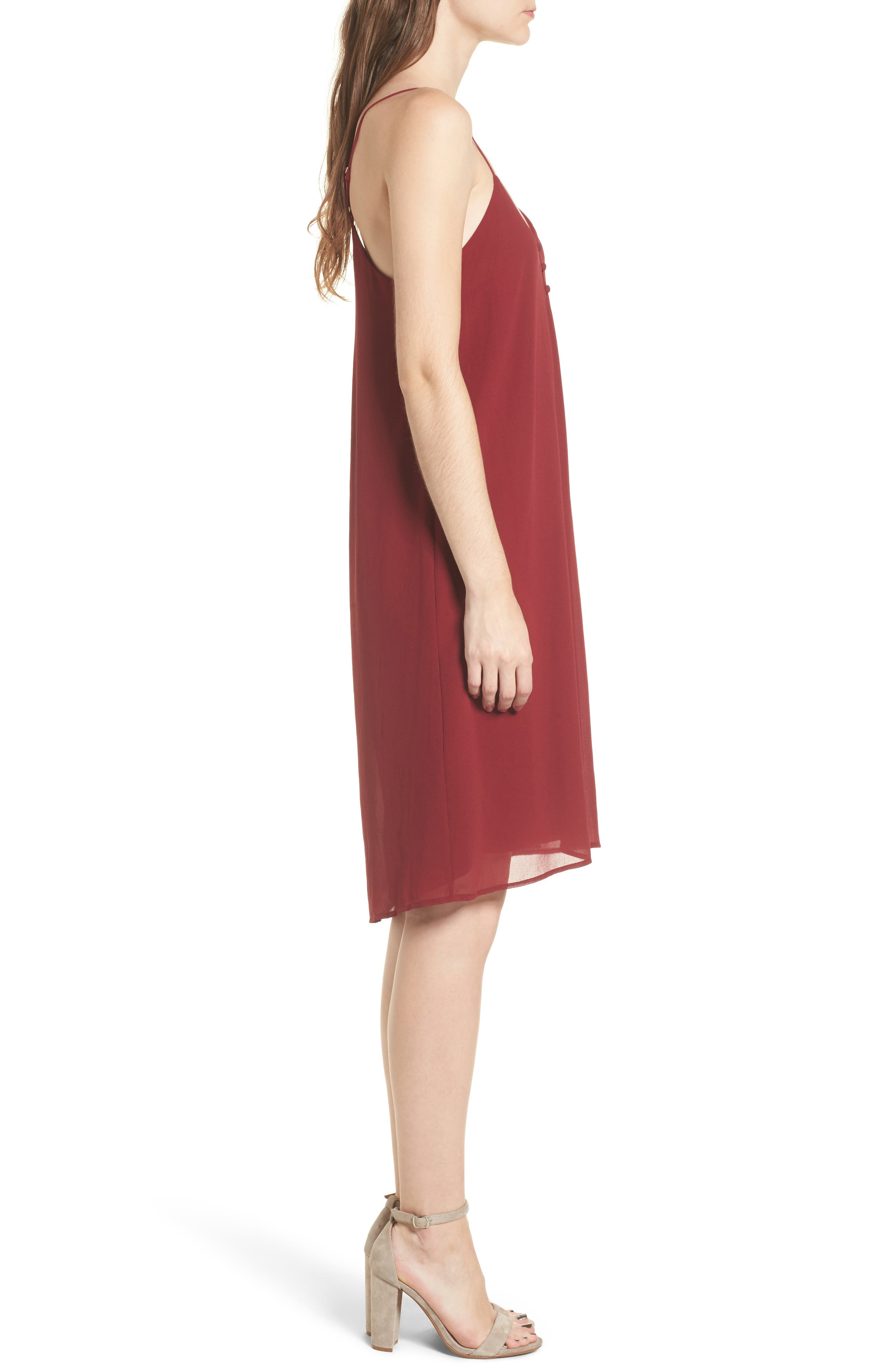 Floral Slipdress,                             Alternate thumbnail 3, color,                             Wine