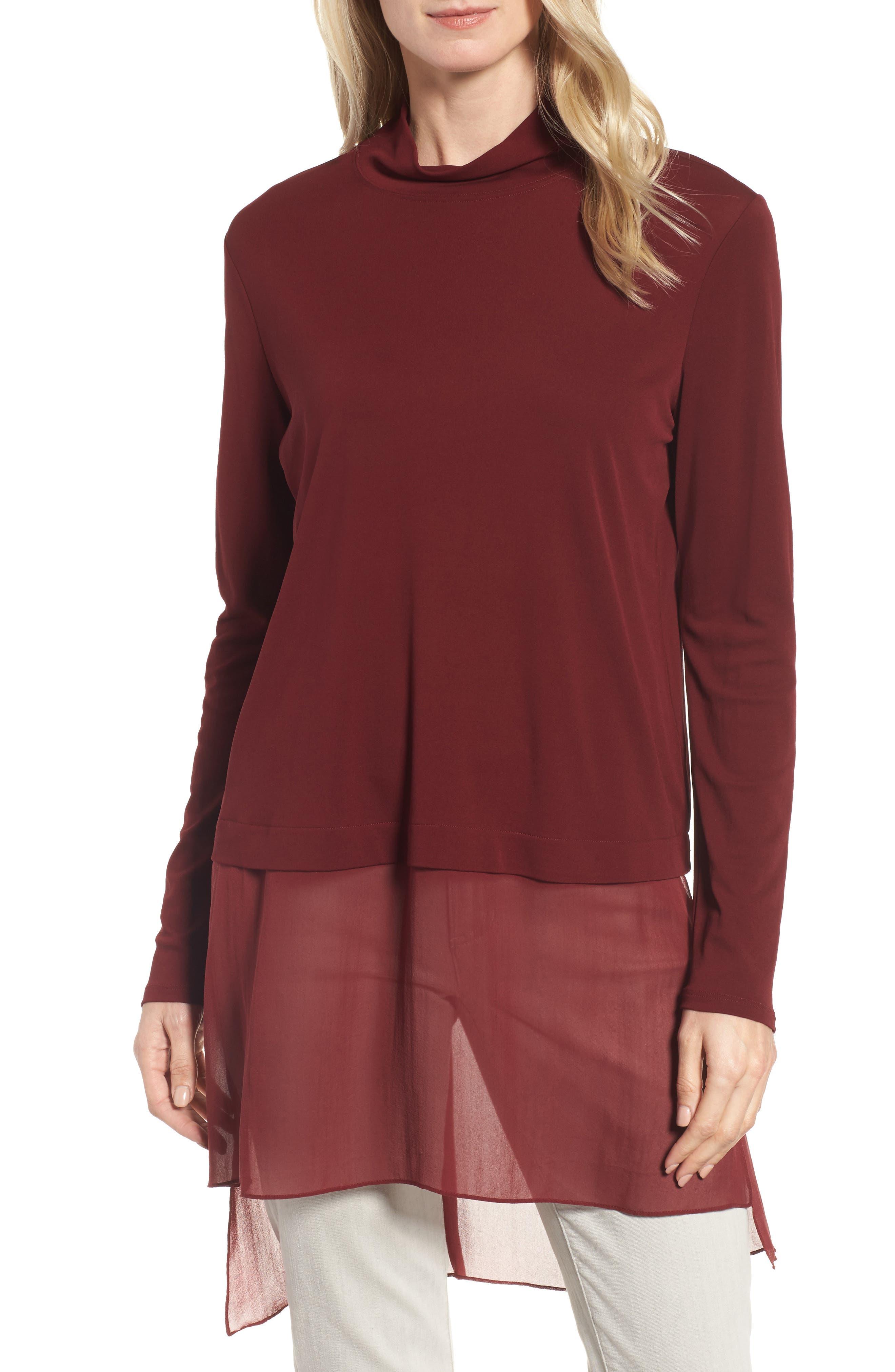 Sheer Hem Silk Tunic,                         Main,                         color, Claret