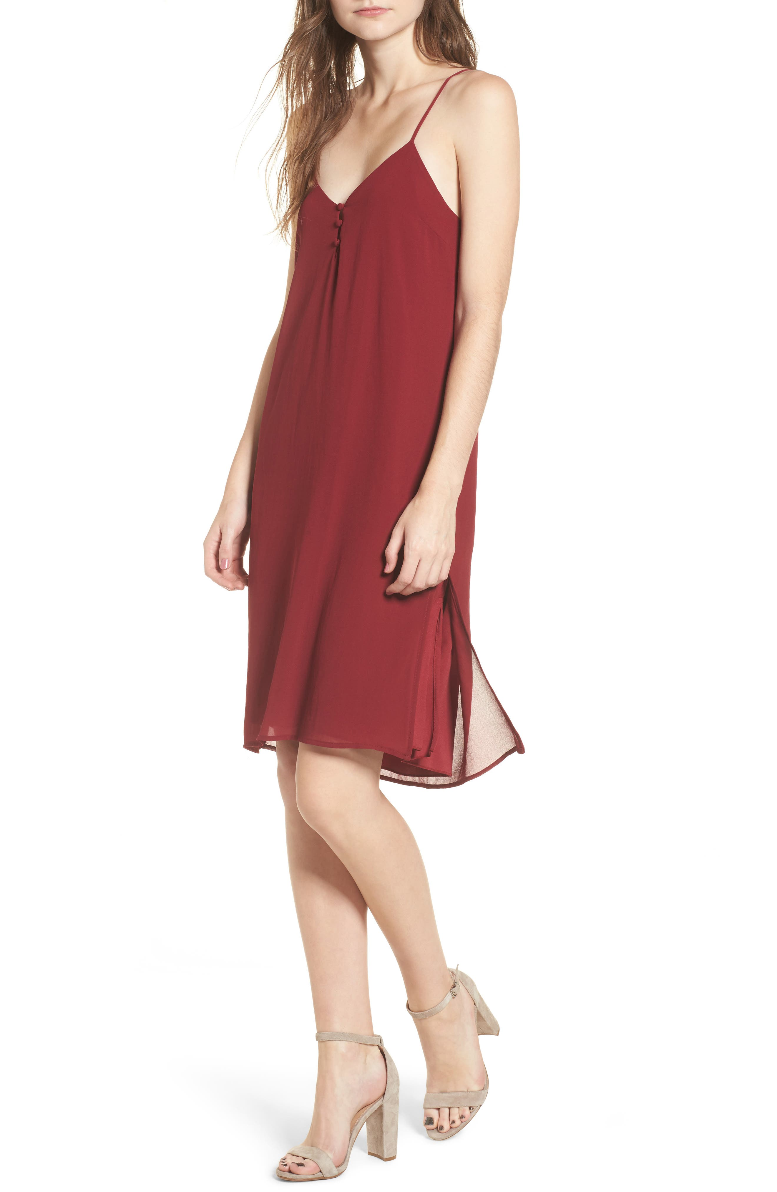 Floral Slipdress,                             Main thumbnail 1, color,                             Wine
