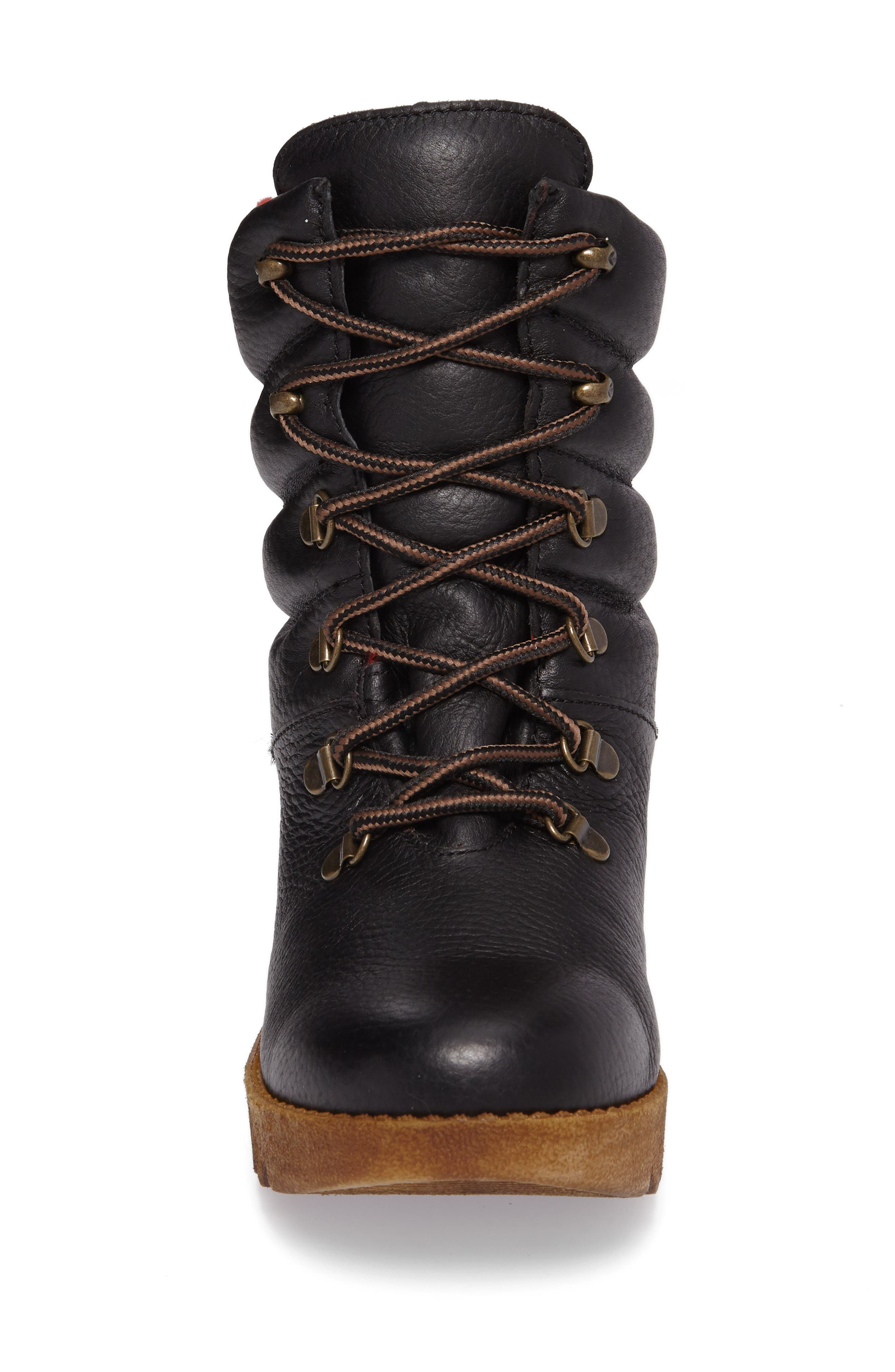 Original Pillow Waterproof Boot,                             Alternate thumbnail 4, color,                             Black Leather