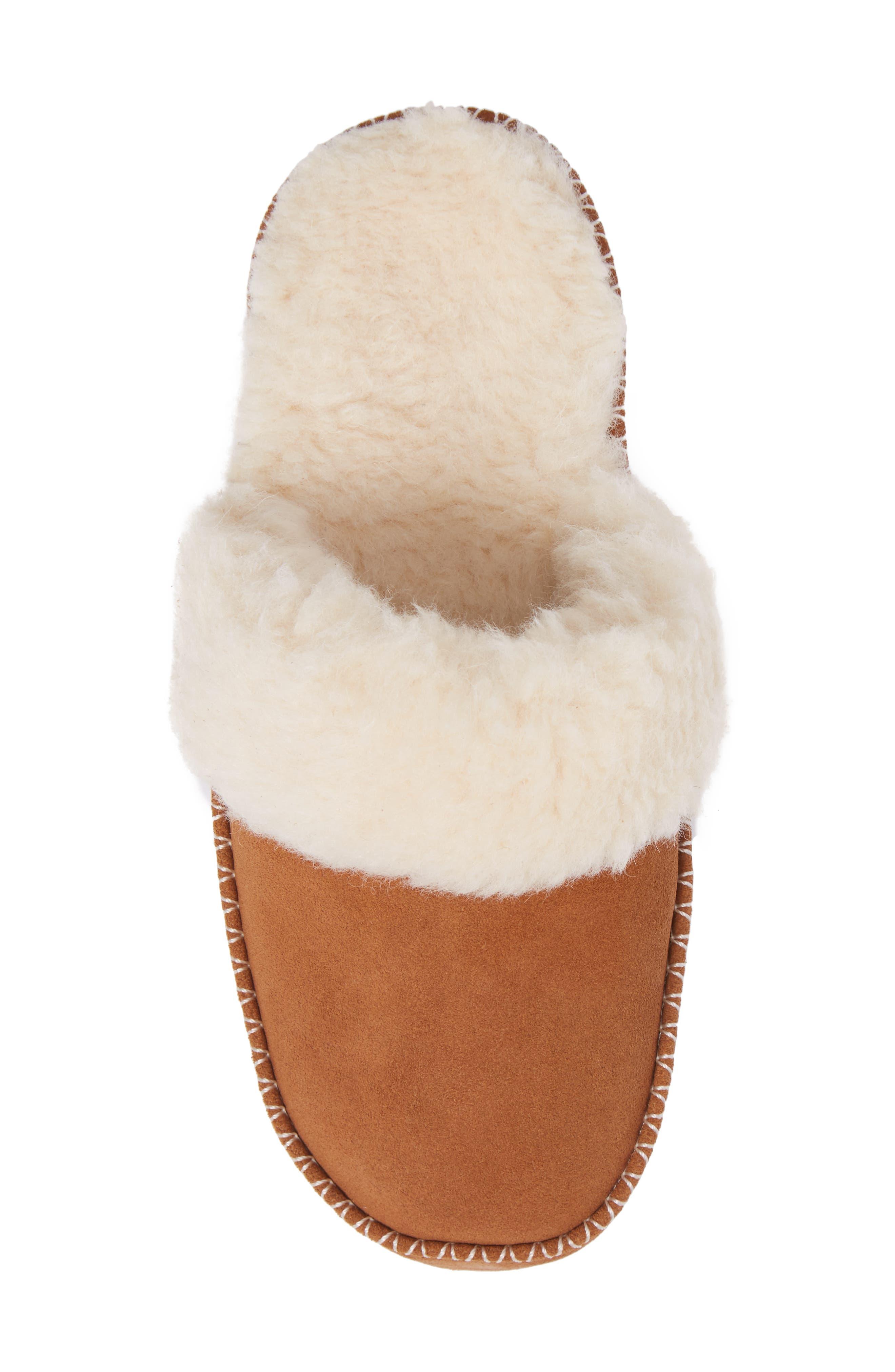 Marley Faux Fur Slipper,                             Alternate thumbnail 5, color,                             Chestnut Suede