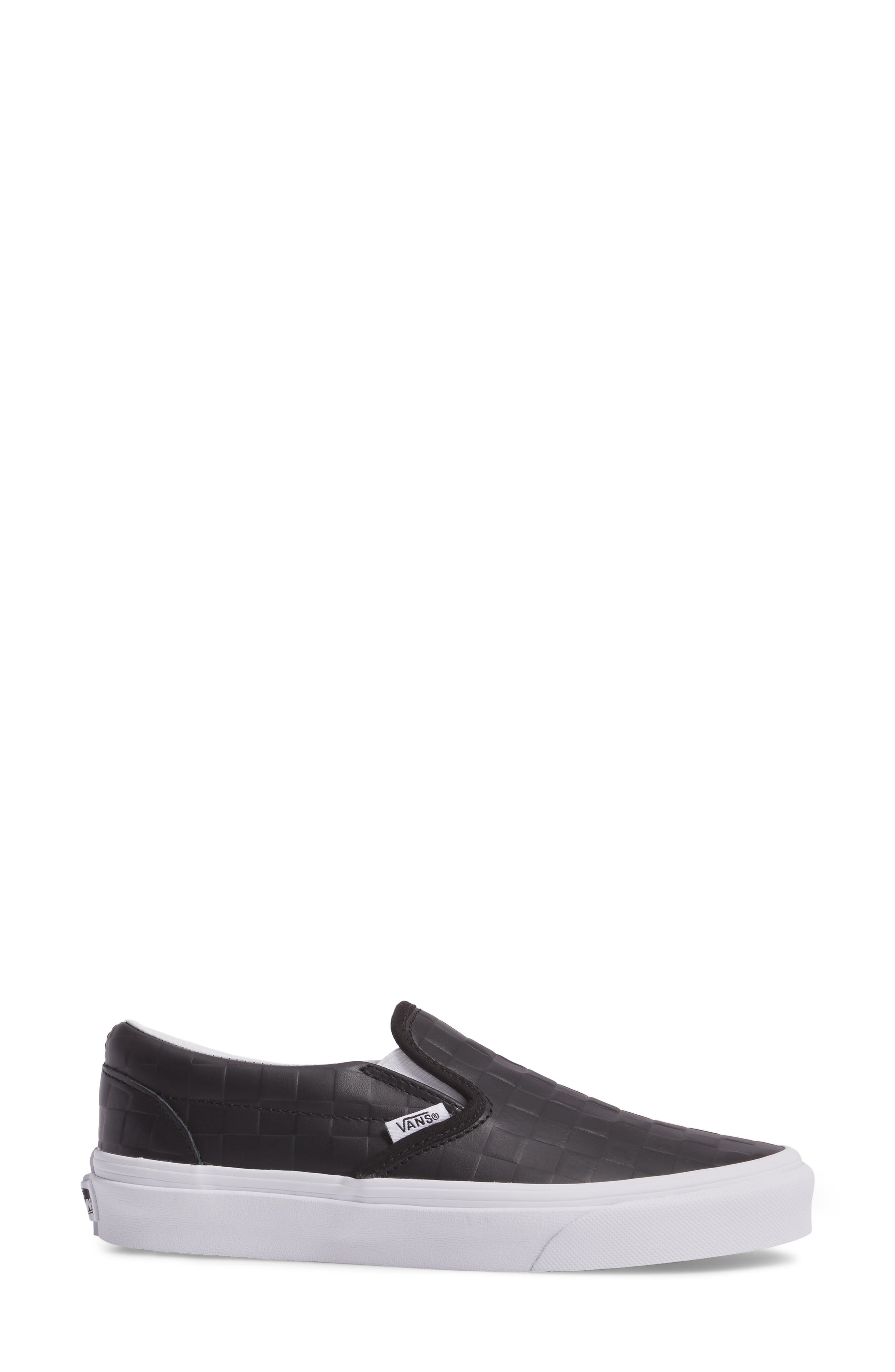 Classic Slip-On Sneaker,                             Alternate thumbnail 3, color,                             Checkerboard/ Black