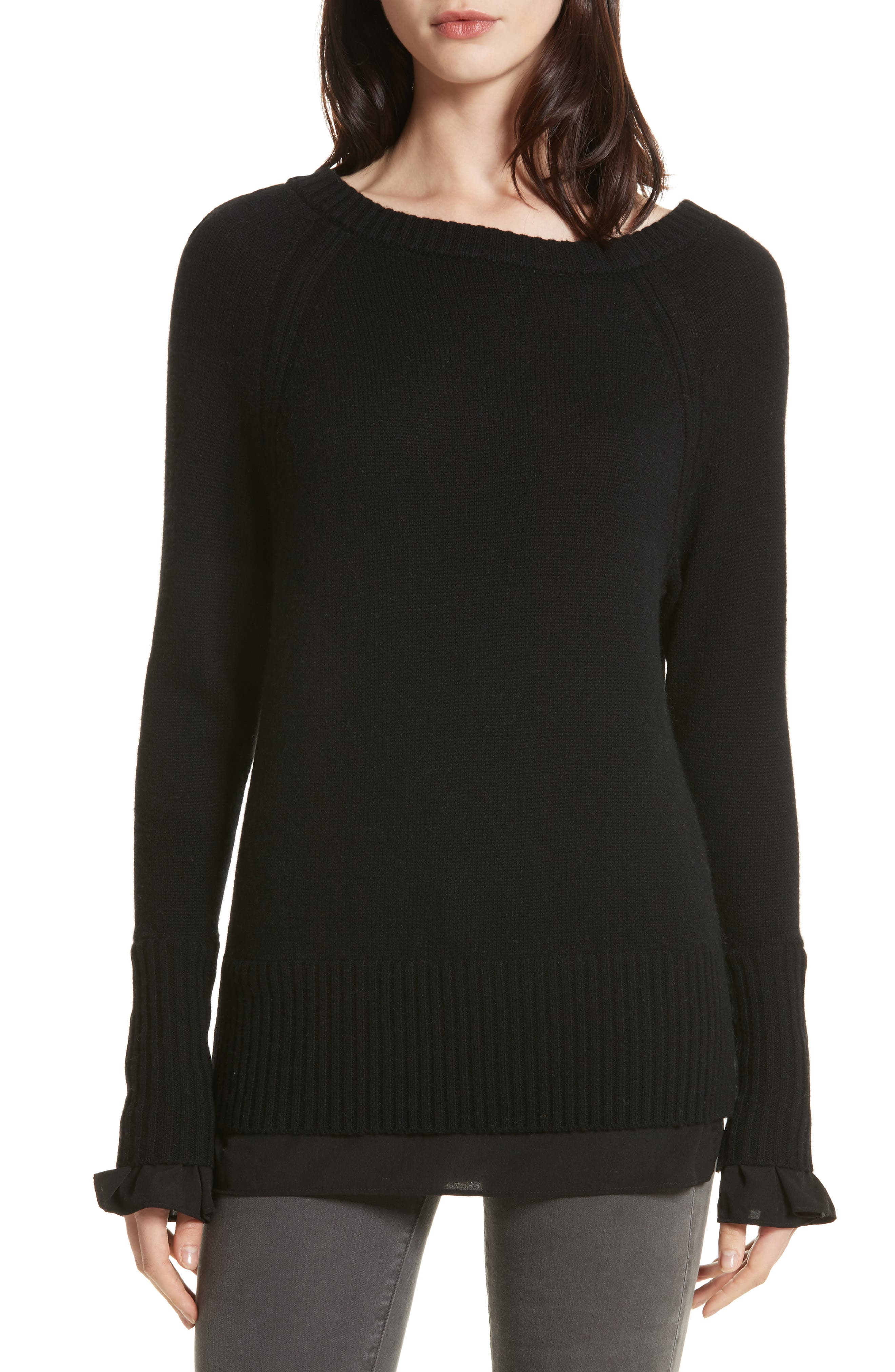 Flores Layered Off Shoulder Sweater,                         Main,                         color, Black Onyx W/ Black Layer