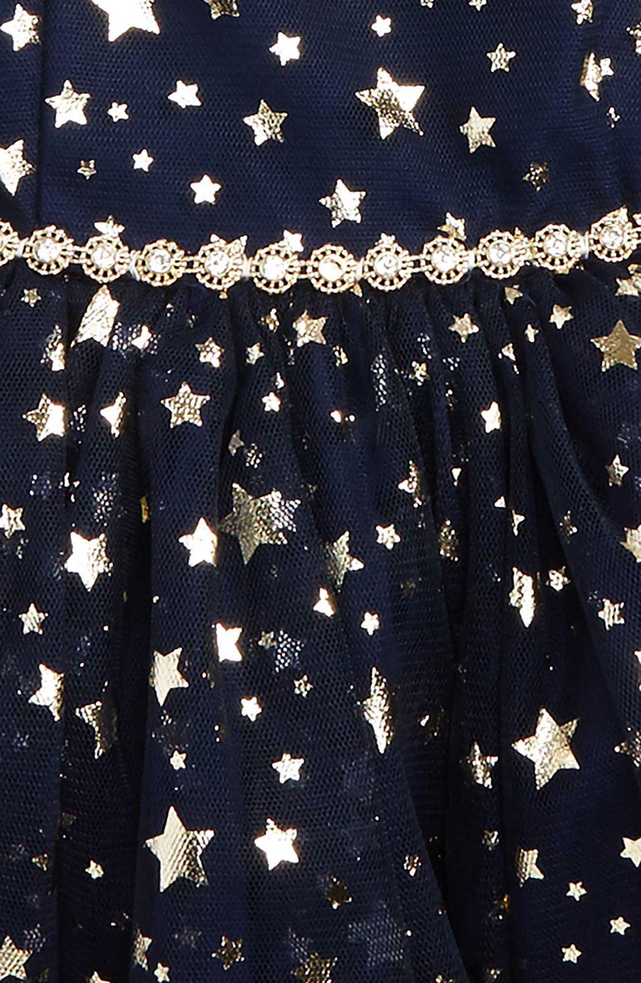 Alternate Image 2  - Pippa & Julie Metallic Star Tulle Dress (Baby Girls)