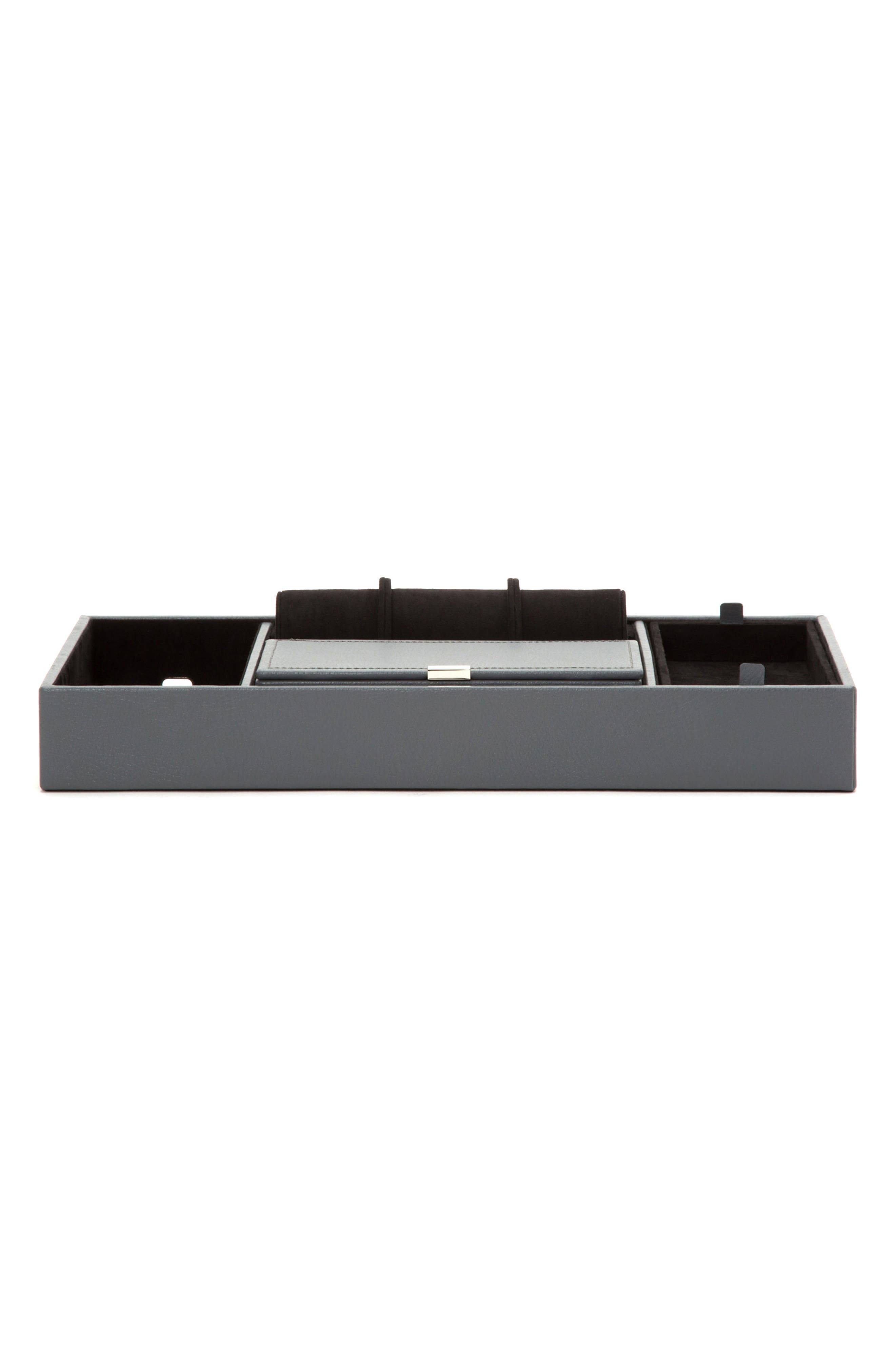 Howard Valet Jewelry Tray with Tie Roll,                         Main,                         color, Grey