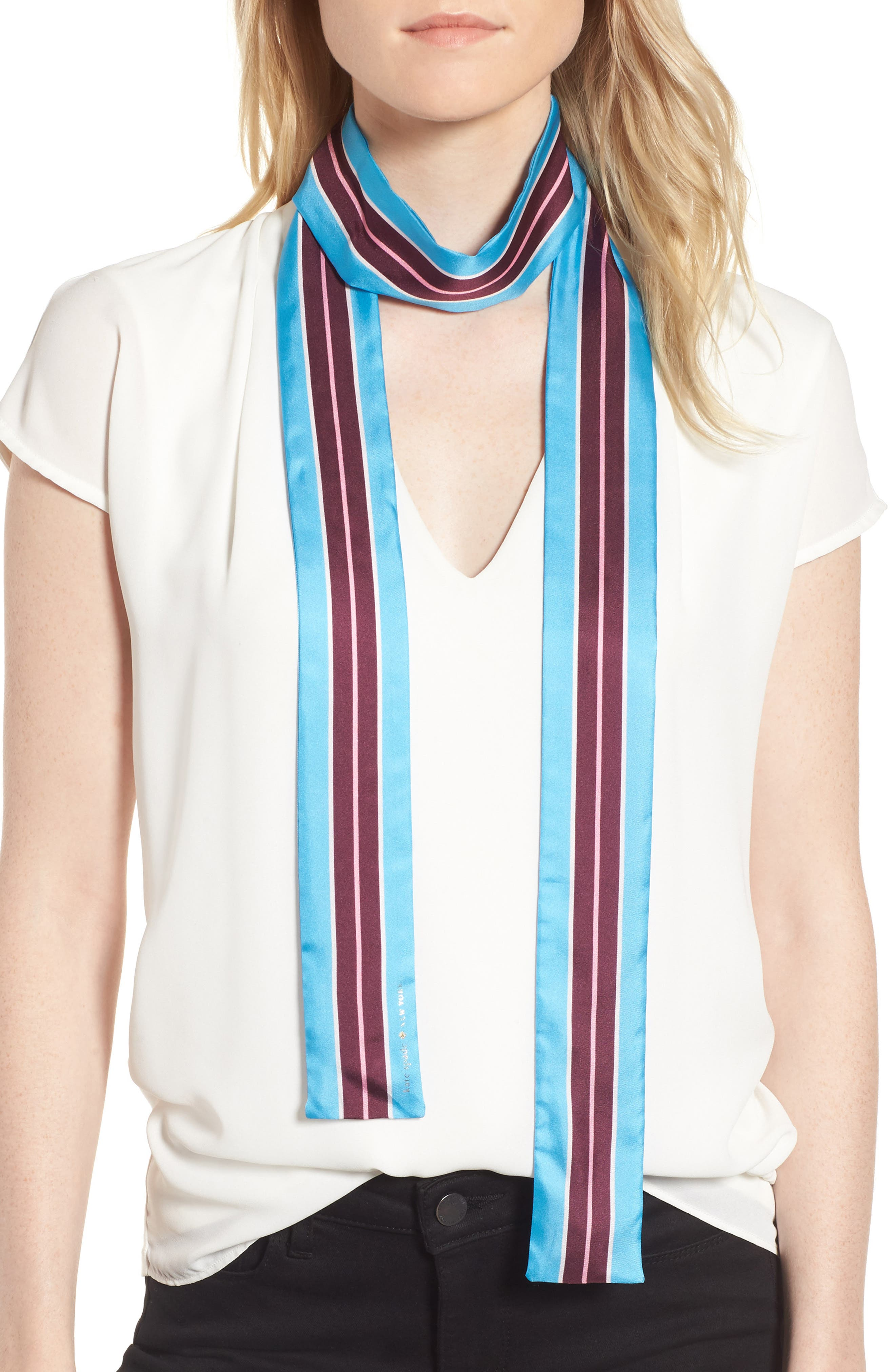 geo stripe medium skinny silk scarf,                             Main thumbnail 1, color,                             Blue Bird