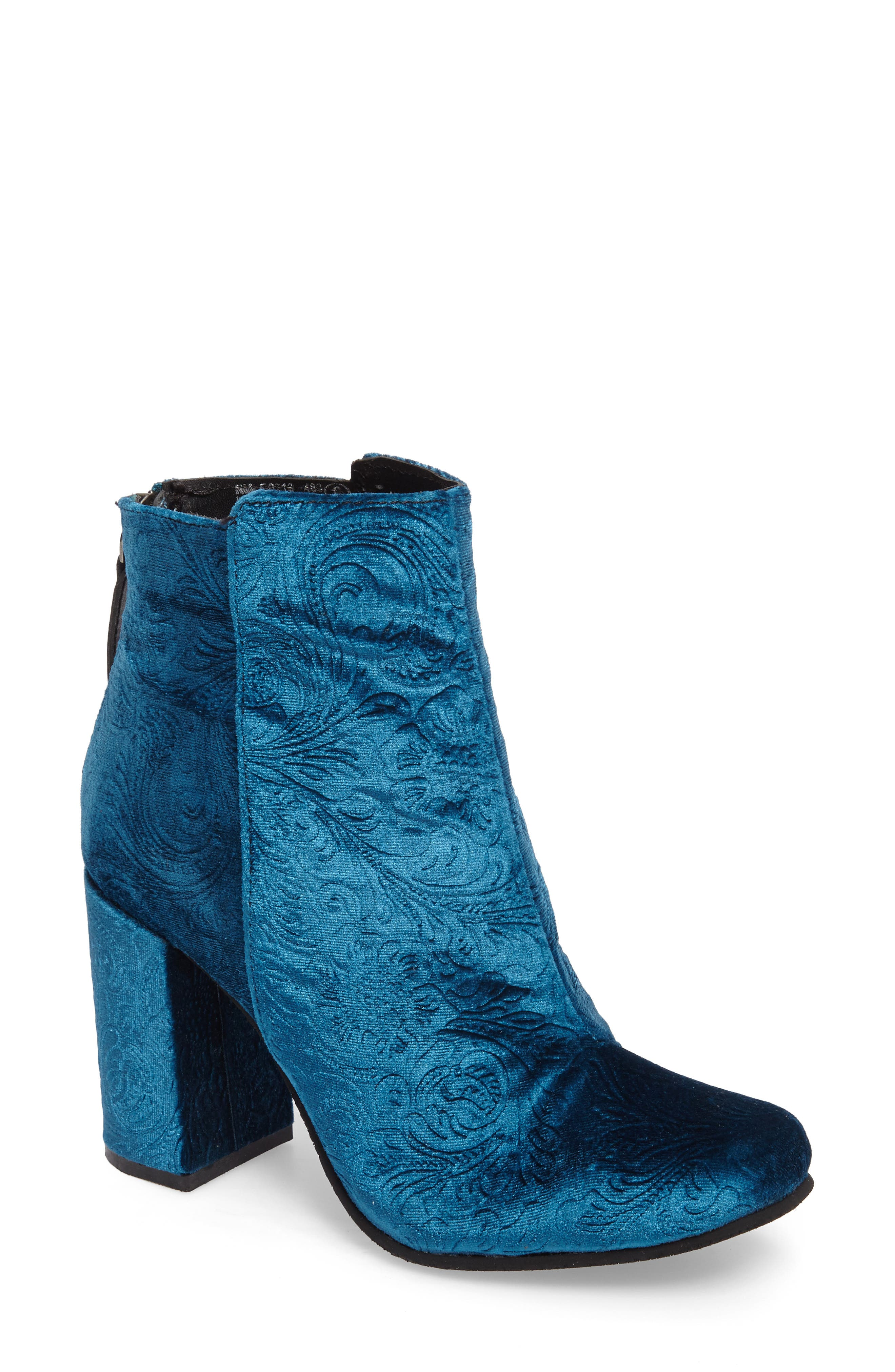 Nadonna Bootie,                         Main,                         color, Teal Fabric