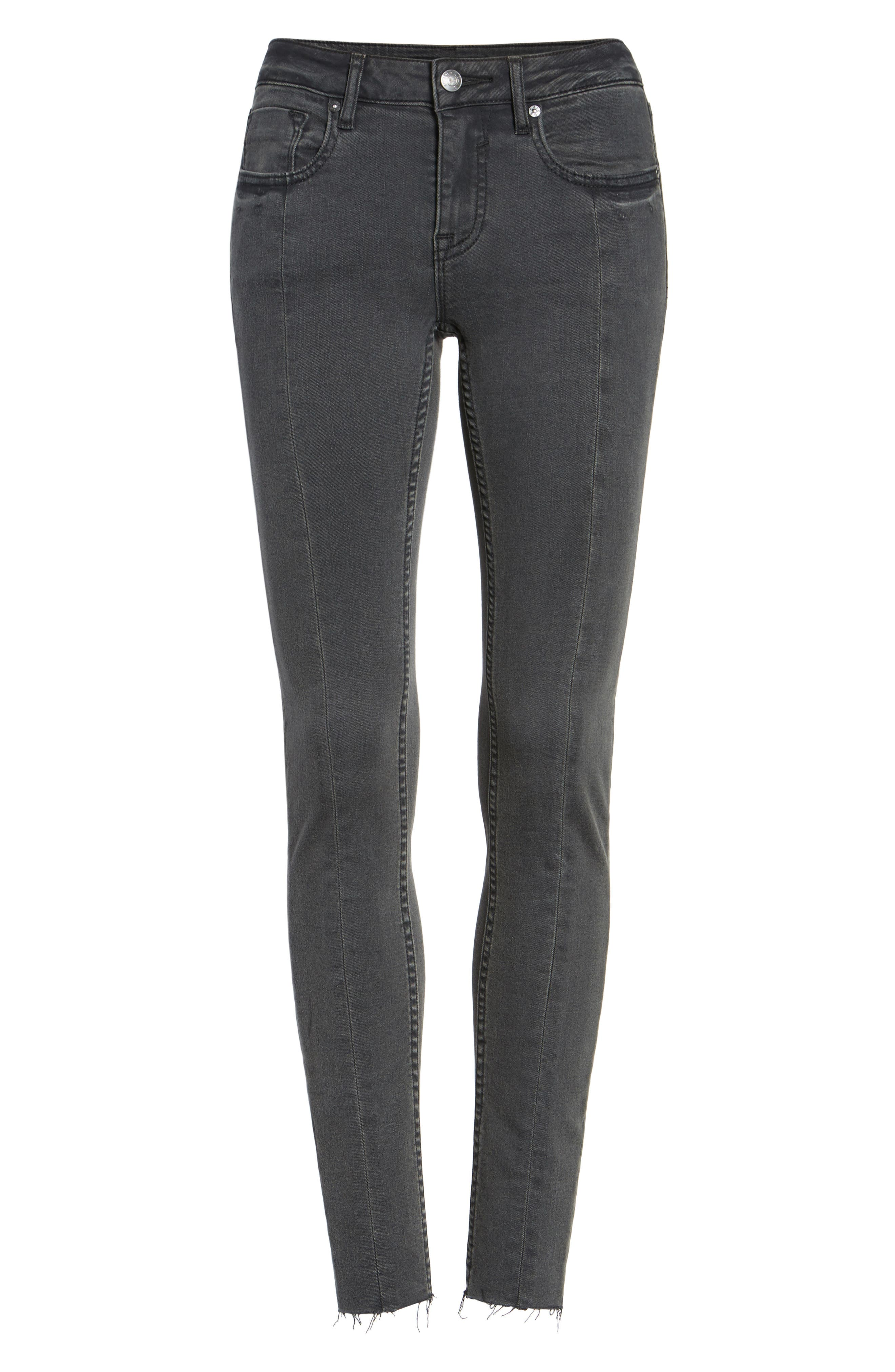 Jagger Front Seam Skinny Jeans,                             Alternate thumbnail 6, color,                             Washed Black