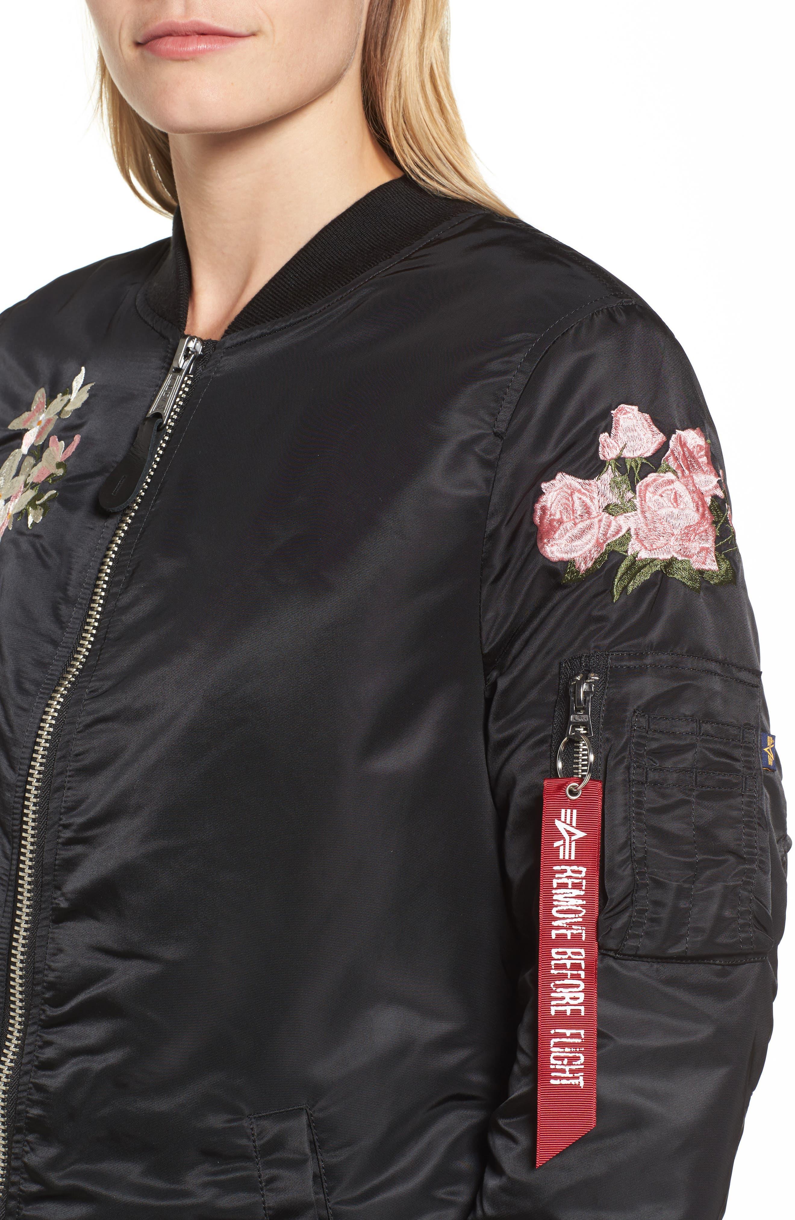 Long Souvenir Illusion MA-1 Jacket,                             Alternate thumbnail 4, color,                             Black
