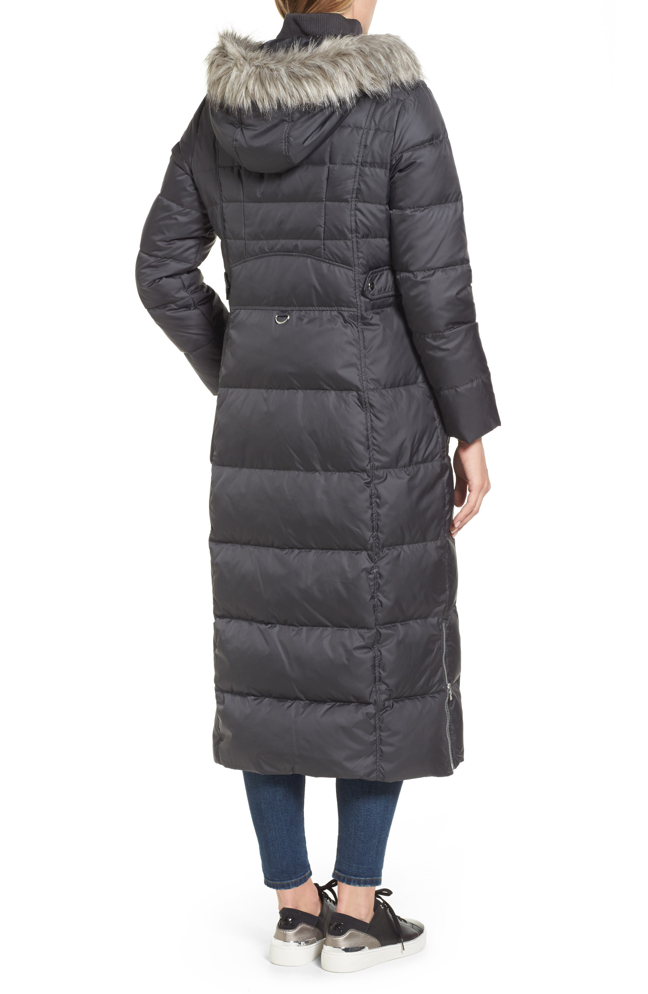 Alternate Image 2  - Larry Levine Quilted Maxi Coat with Faux Fur Trim