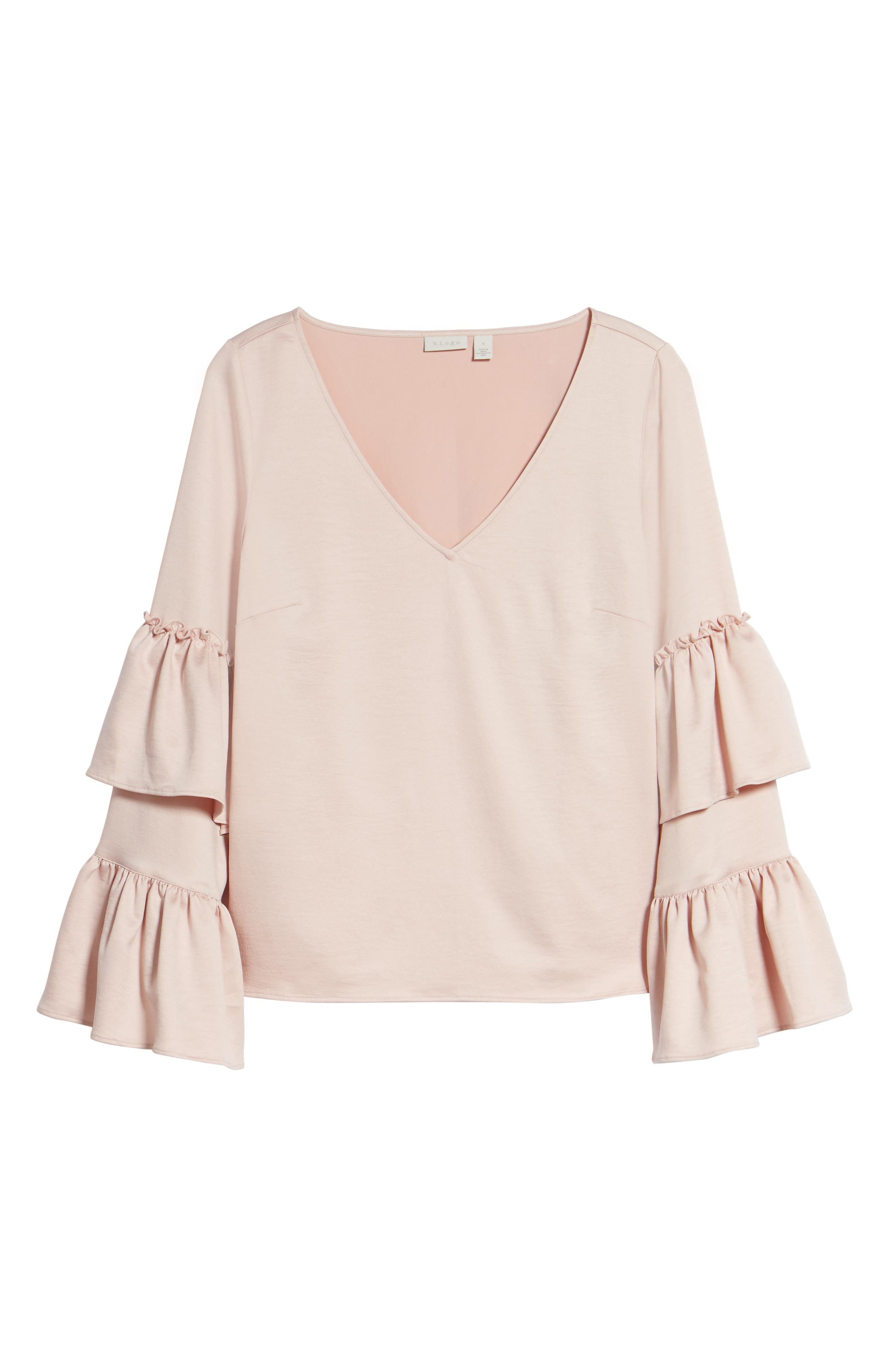 Ruffle Sleeve Satin Blouse,                             Alternate thumbnail 6, color,                             Pink Peach