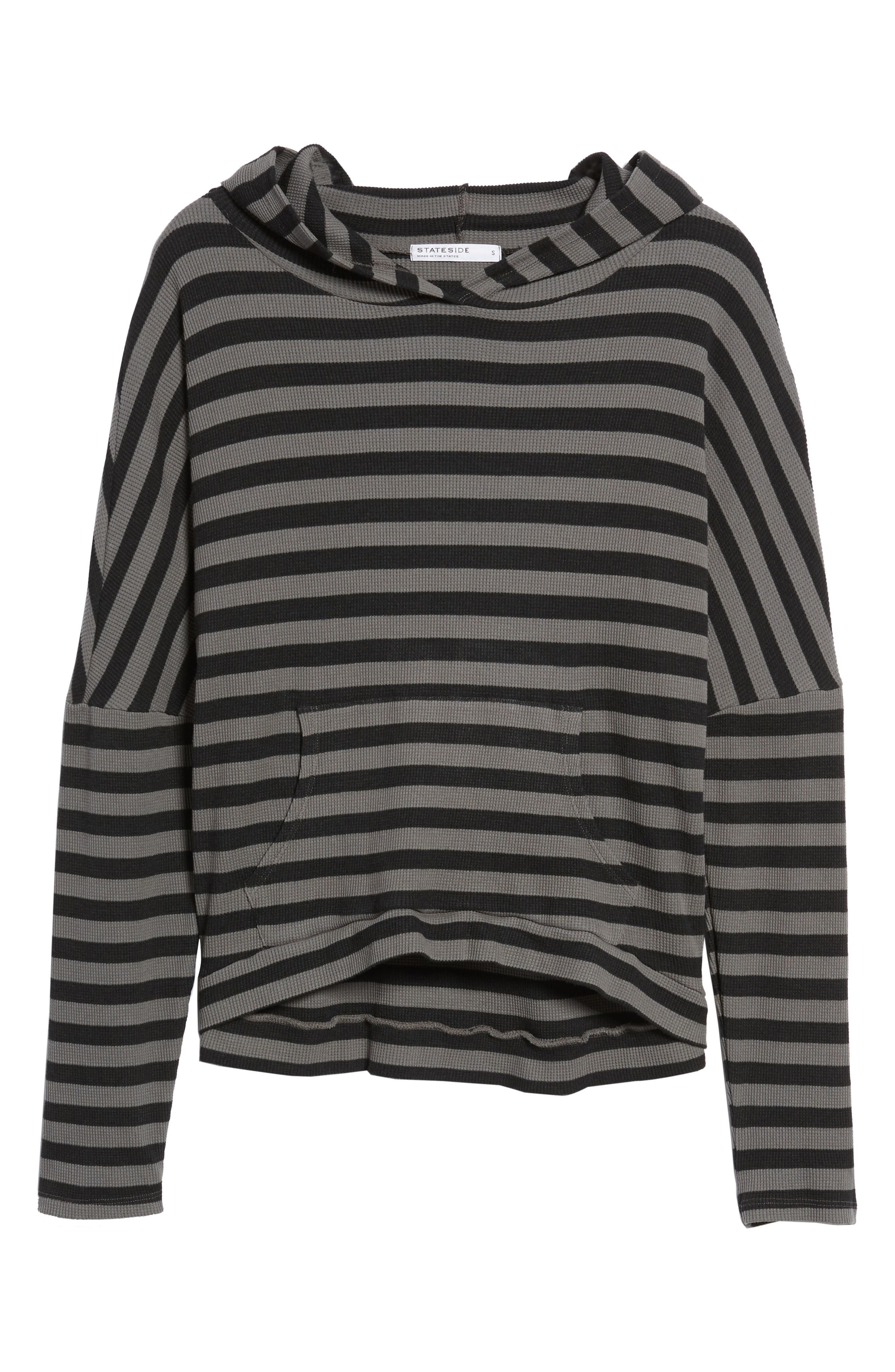 Stripe Thermal Hoodie,                             Alternate thumbnail 6, color,                             Charcoal