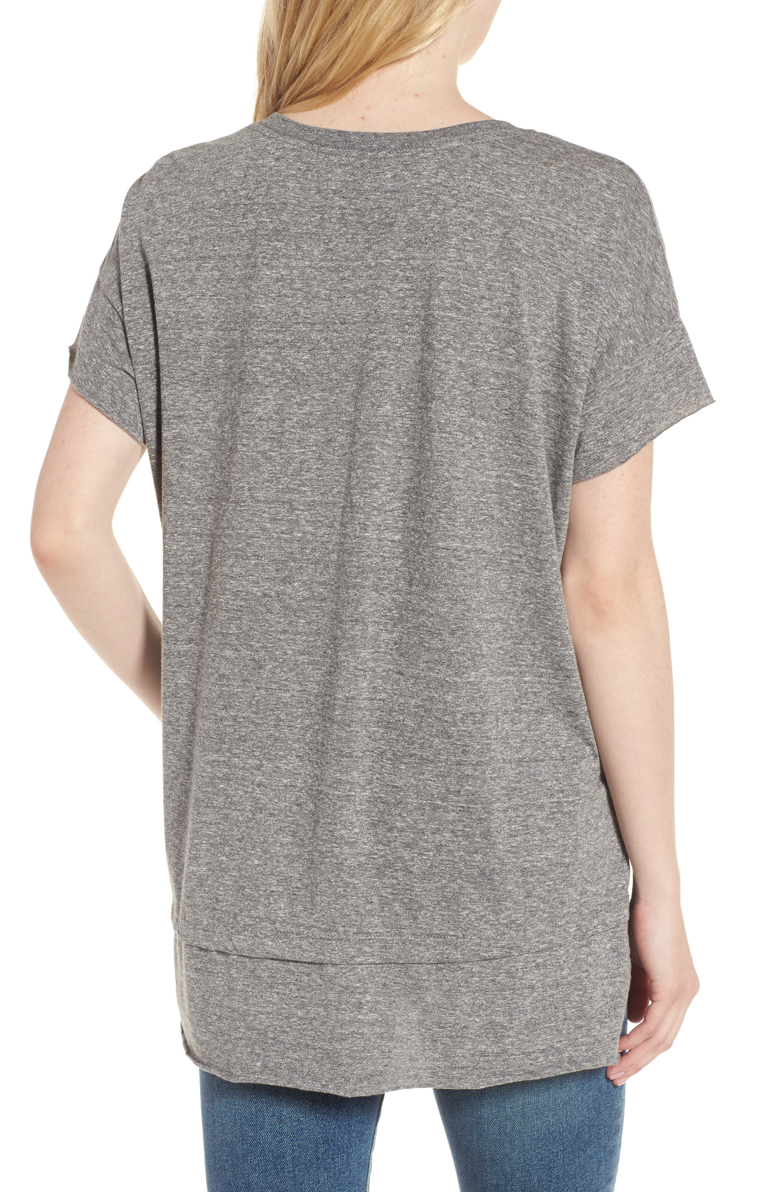 The High/Low Tee,                             Alternate thumbnail 2, color,                             Heather Grey Jersey