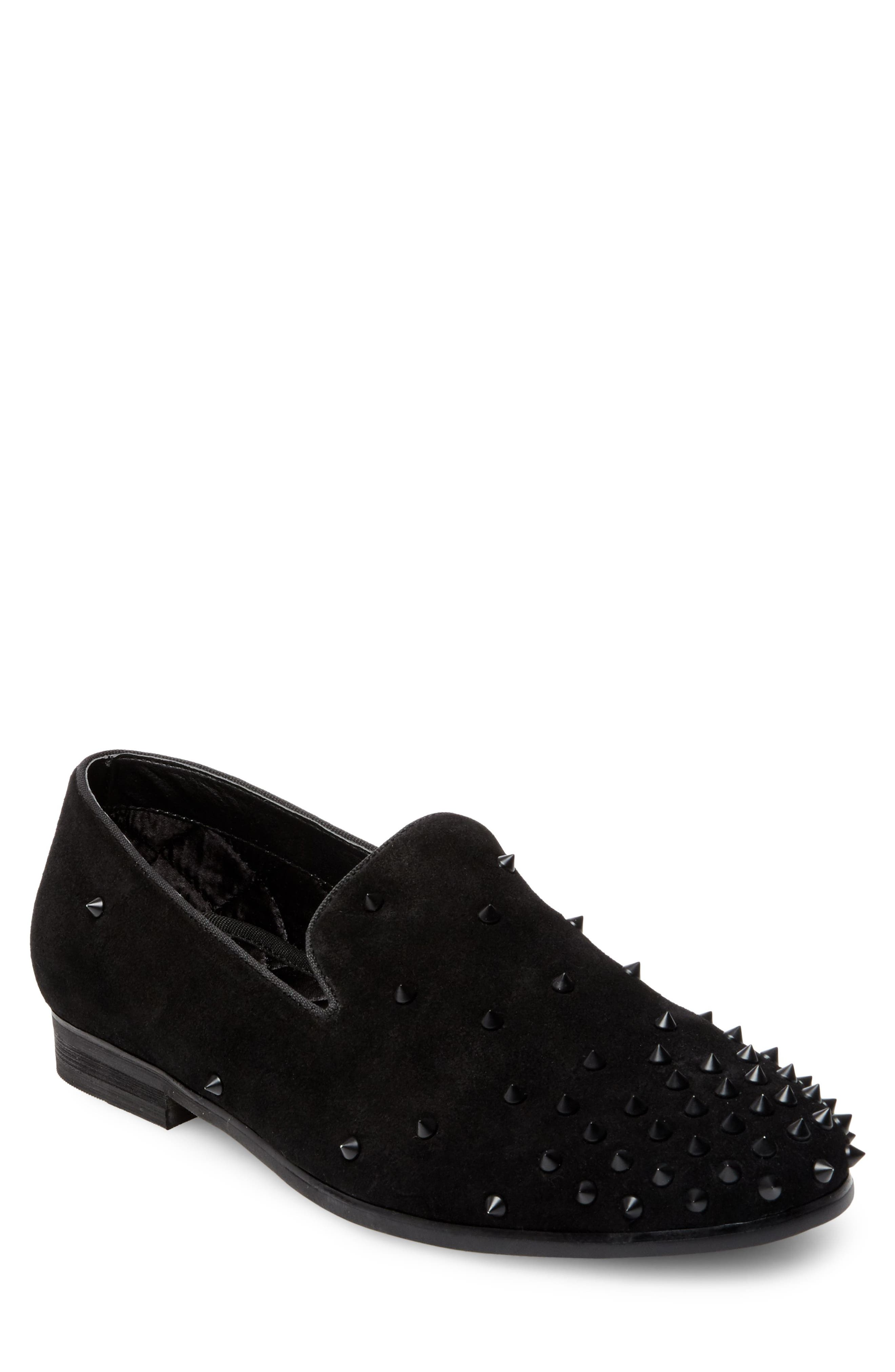 Cascade Studded Loafer,                             Main thumbnail 1, color,                             Black Suede