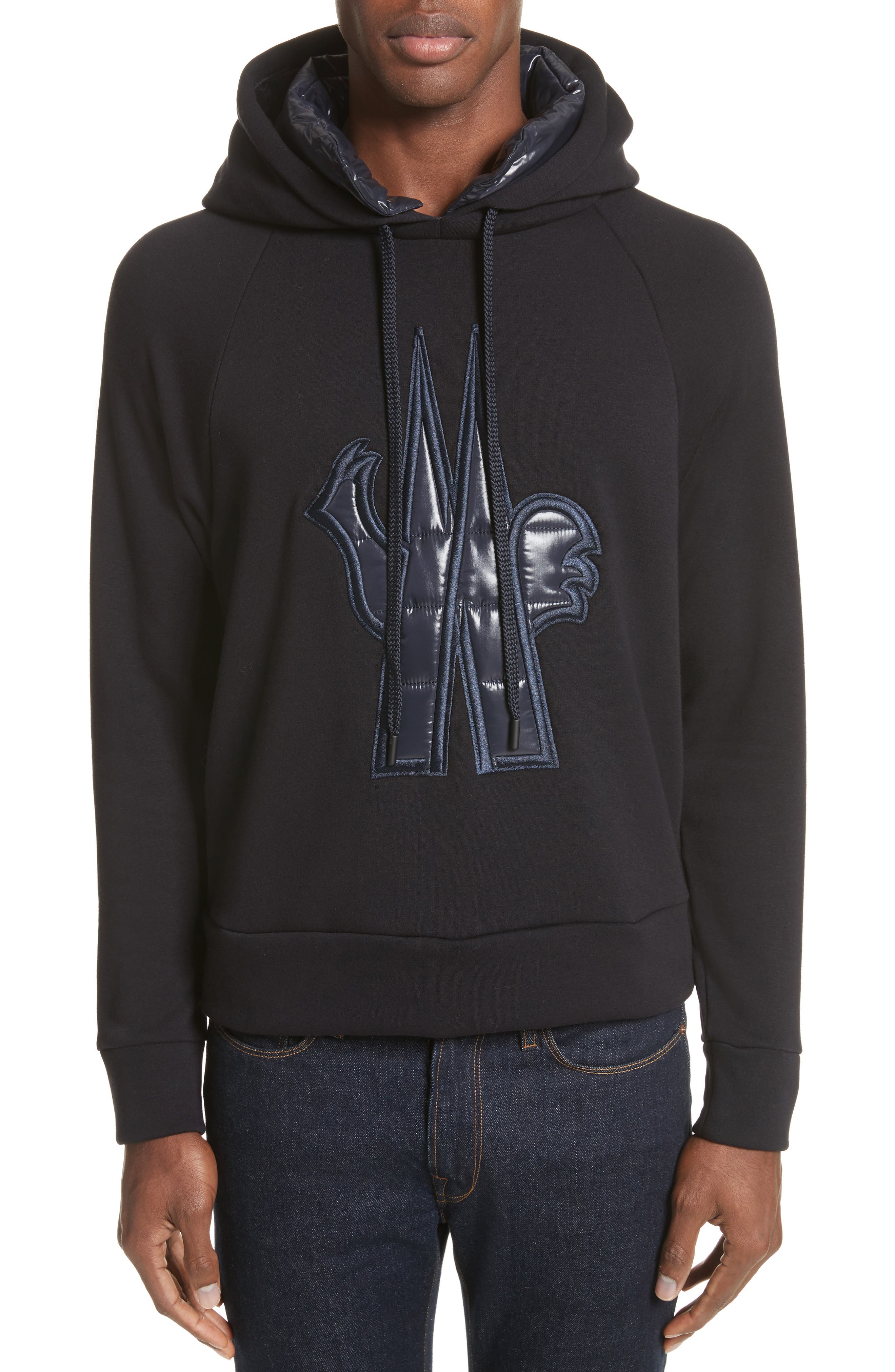 Grenoble Logo Patch Hooded Sweatshirt,                         Main,                         color, Navy