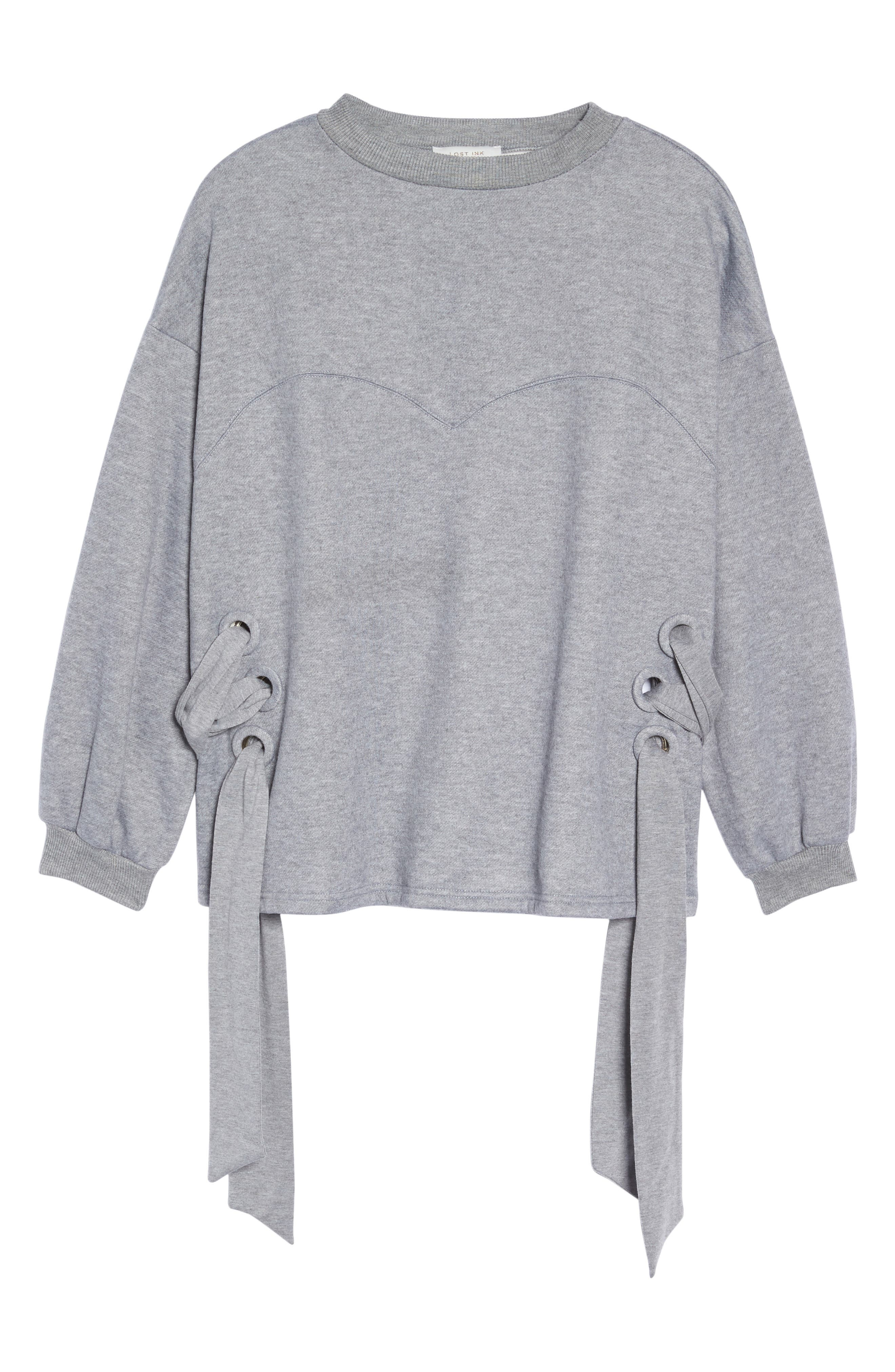 Side Tie Sweatshirt,                             Alternate thumbnail 6, color,                             Grey