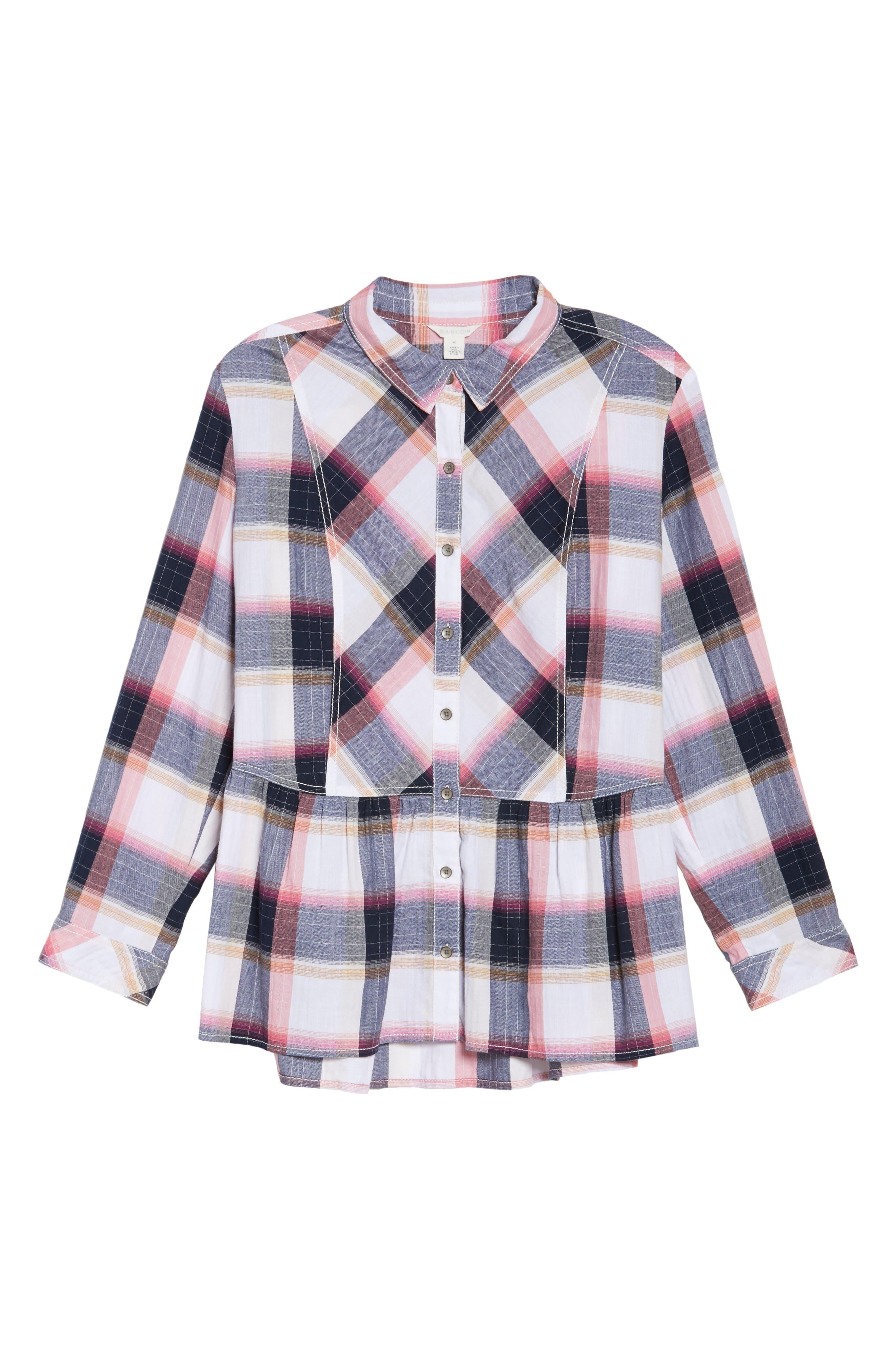 Alternate Image 6  - Caslon® Plaid Peplum Shirt (Plus Size)