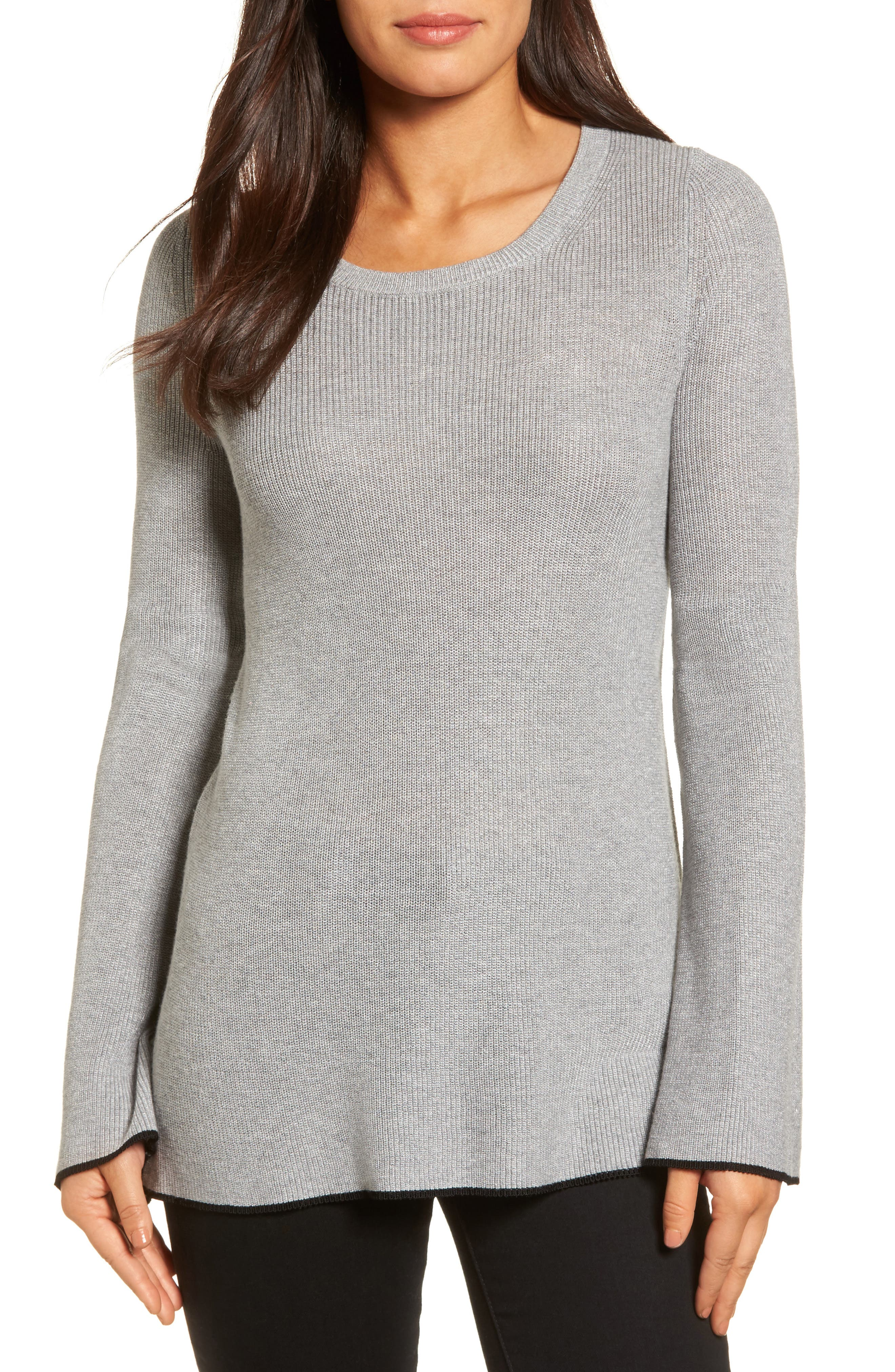 Tipped Bell Sleeve Sweater,                         Main,                         color, Medium Heather Grey
