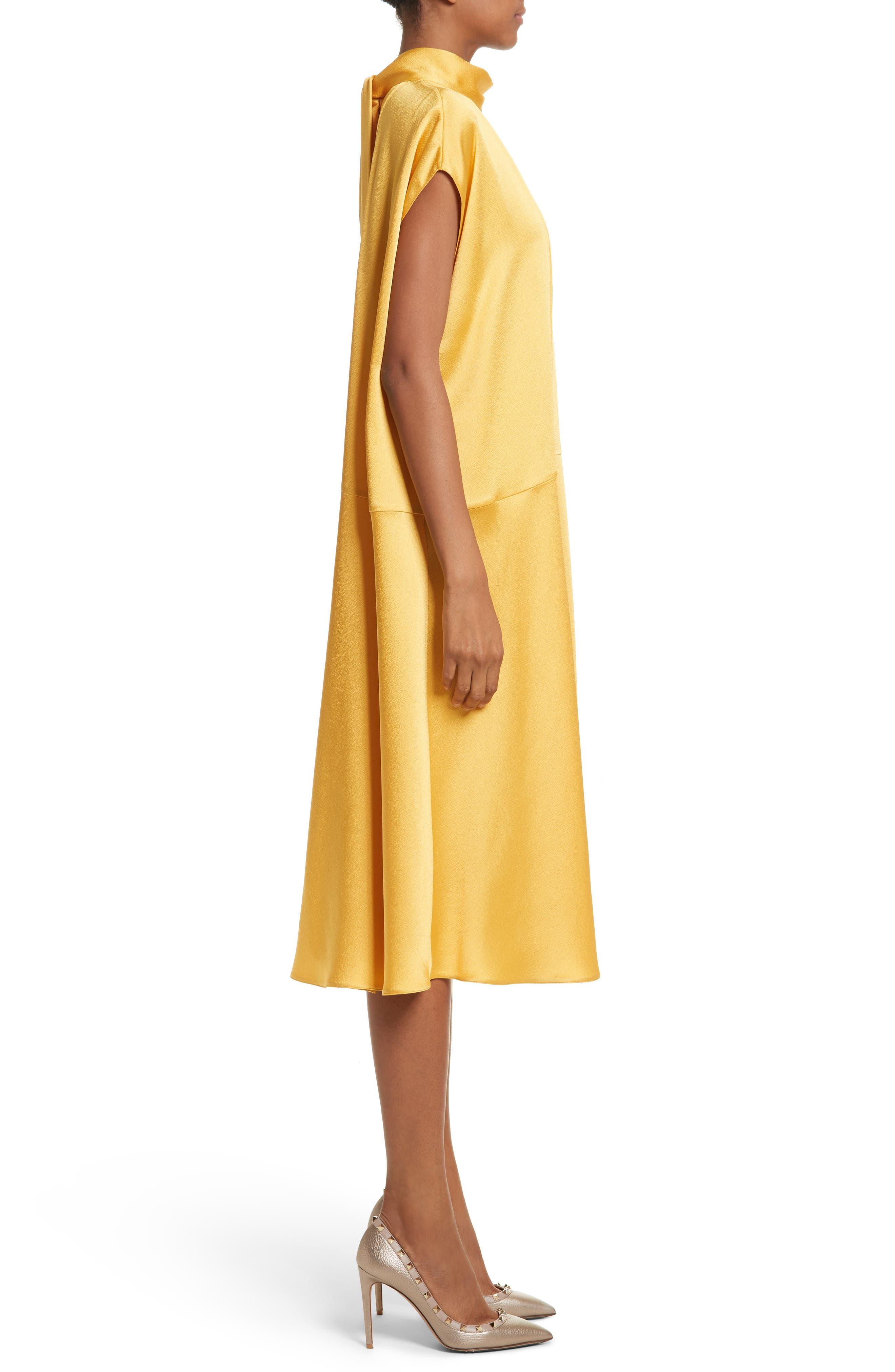 Hammered Satin Midi Dress,                             Alternate thumbnail 4, color,                             Canary Yellow