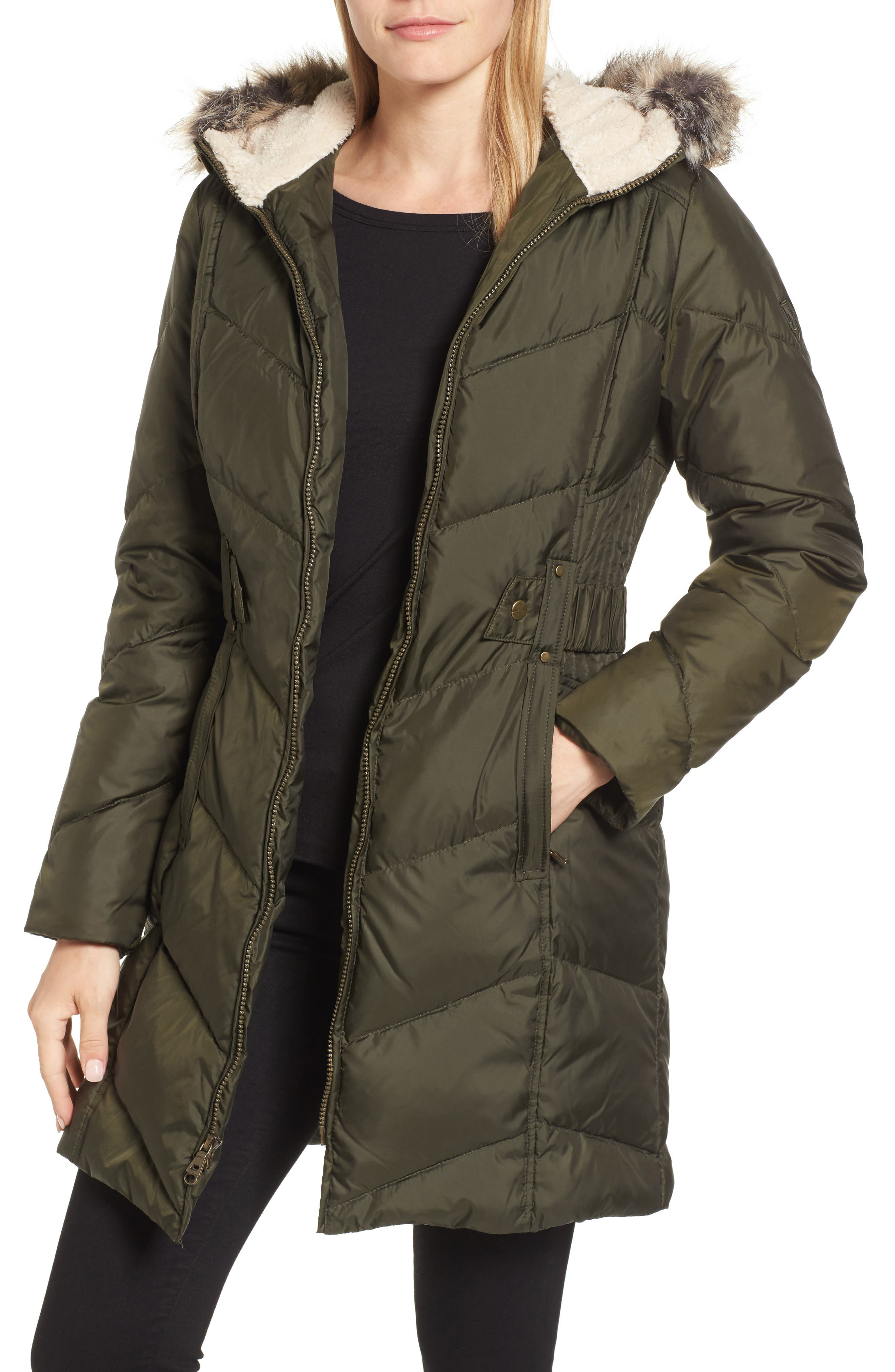 Hooded Down & Feather Fill Jacket with Faux Fur Trim,                             Main thumbnail 1, color,                             Loden
