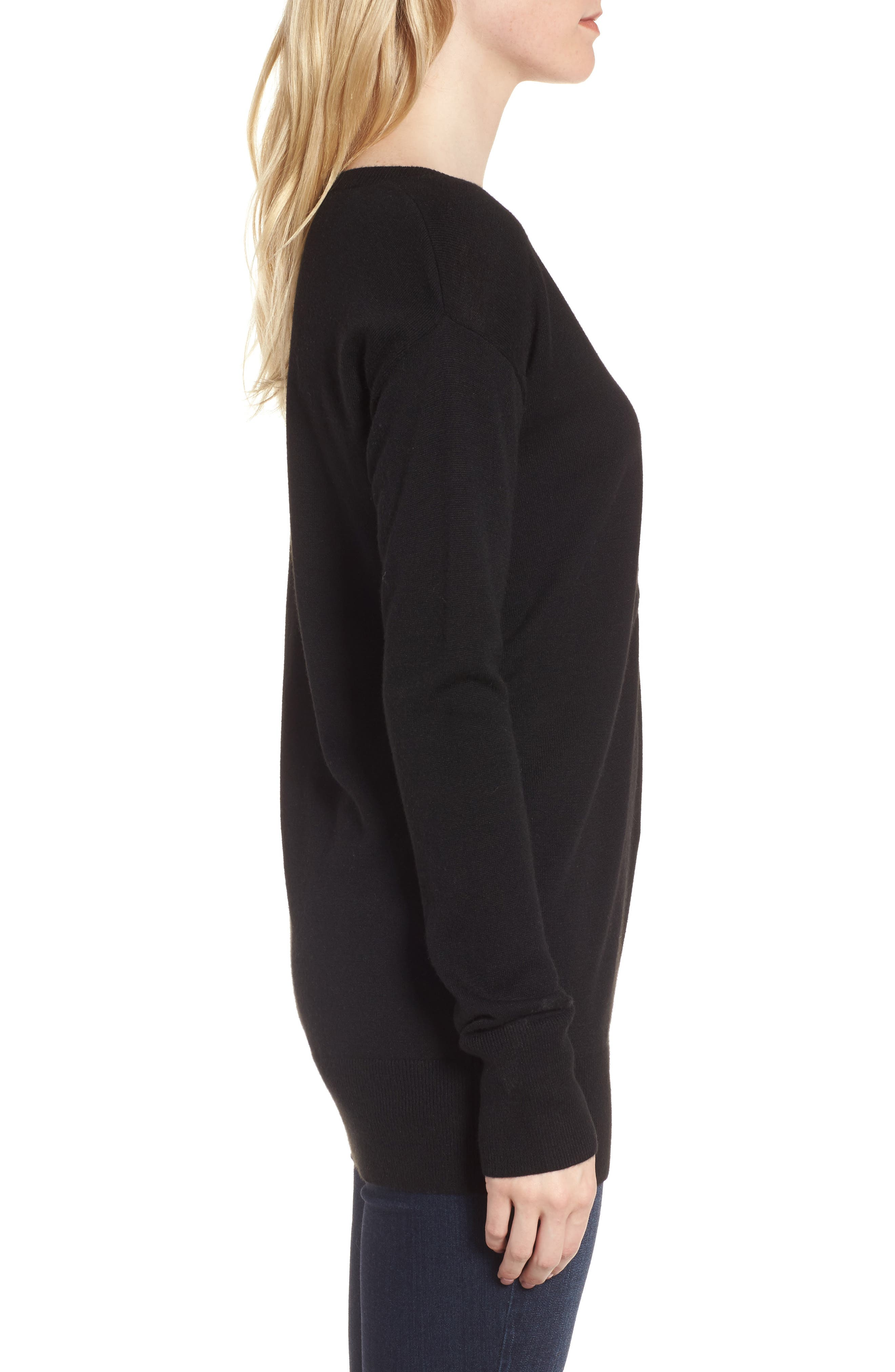 Ruched Sweater,                             Alternate thumbnail 3, color,                             Black