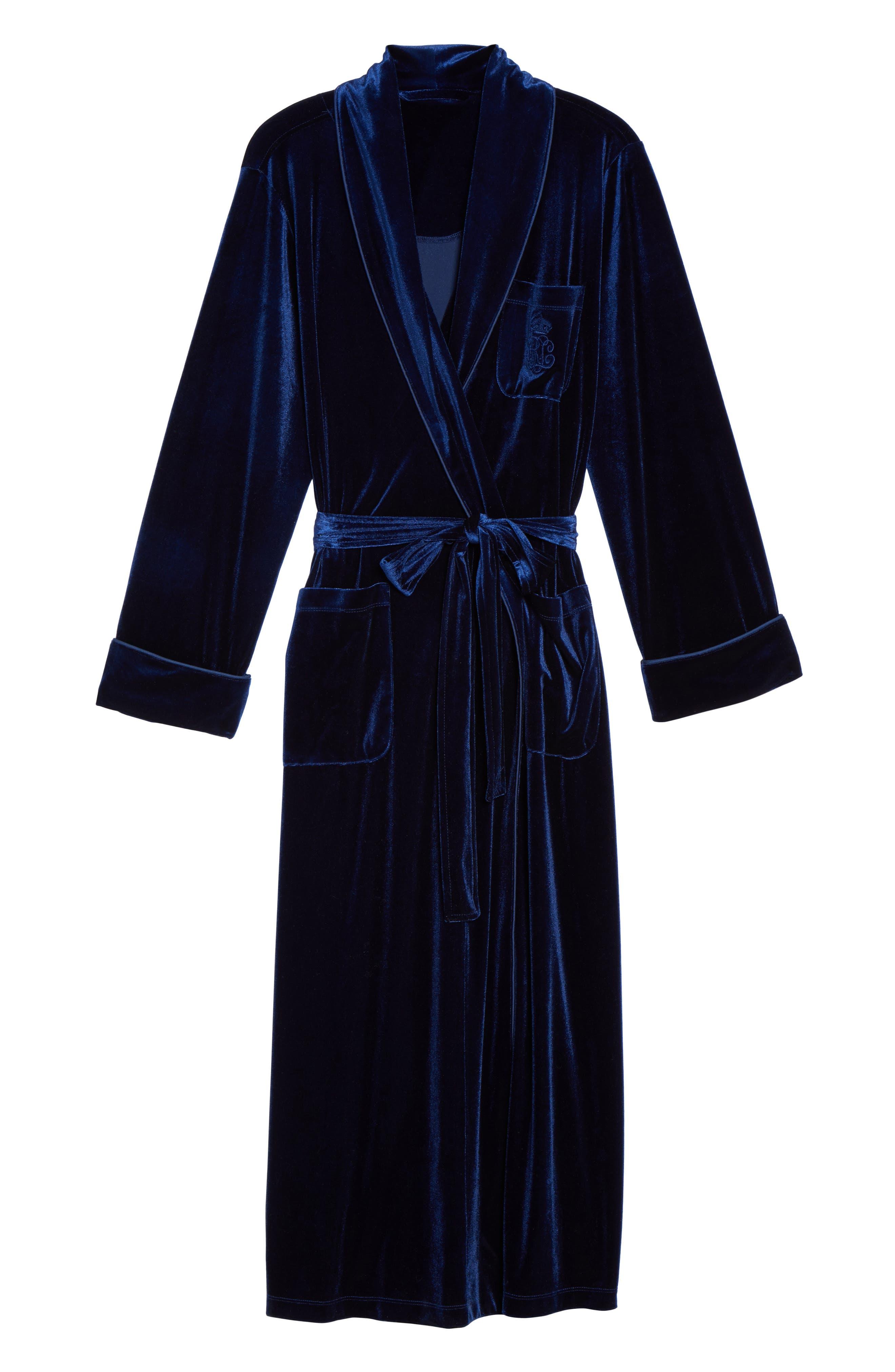 Shawl Collar Velvet Robe,                             Alternate thumbnail 4, color,                             Navy