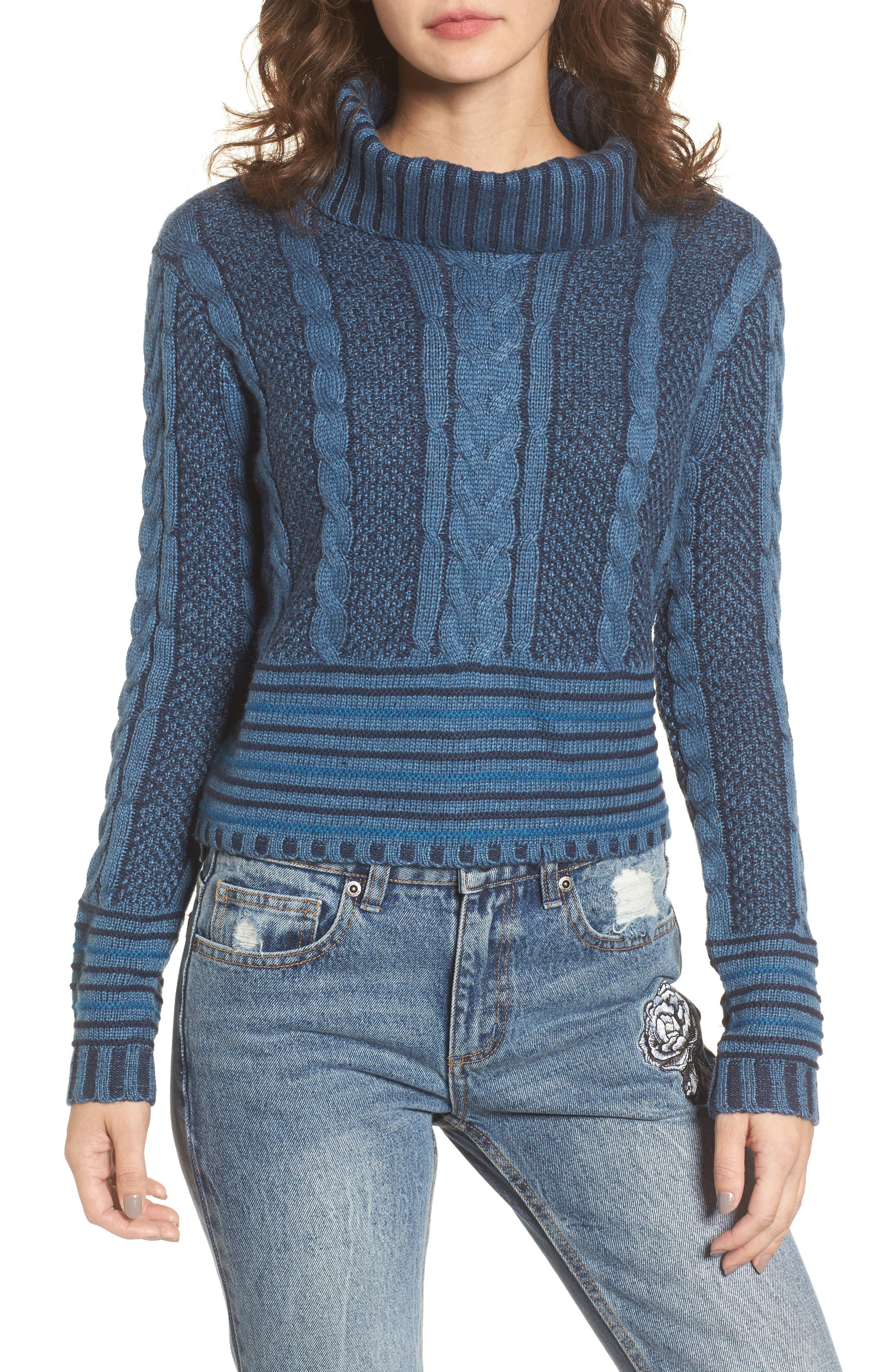 Mix Up Knit Sweater,                         Main,                         color, Blue Heather