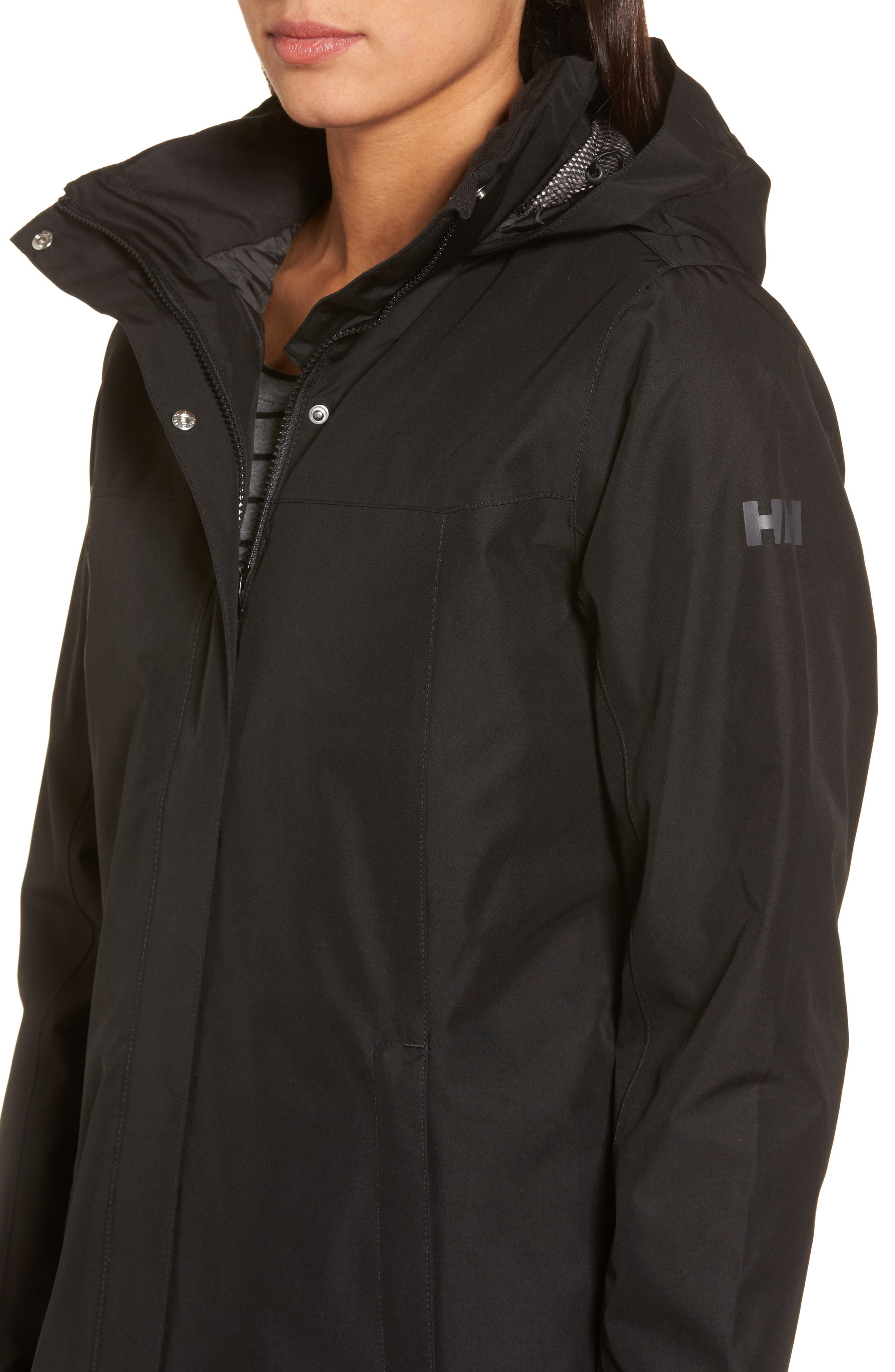 Aden Hooded Insulated Rain Jacket,                             Alternate thumbnail 4, color,                             Black