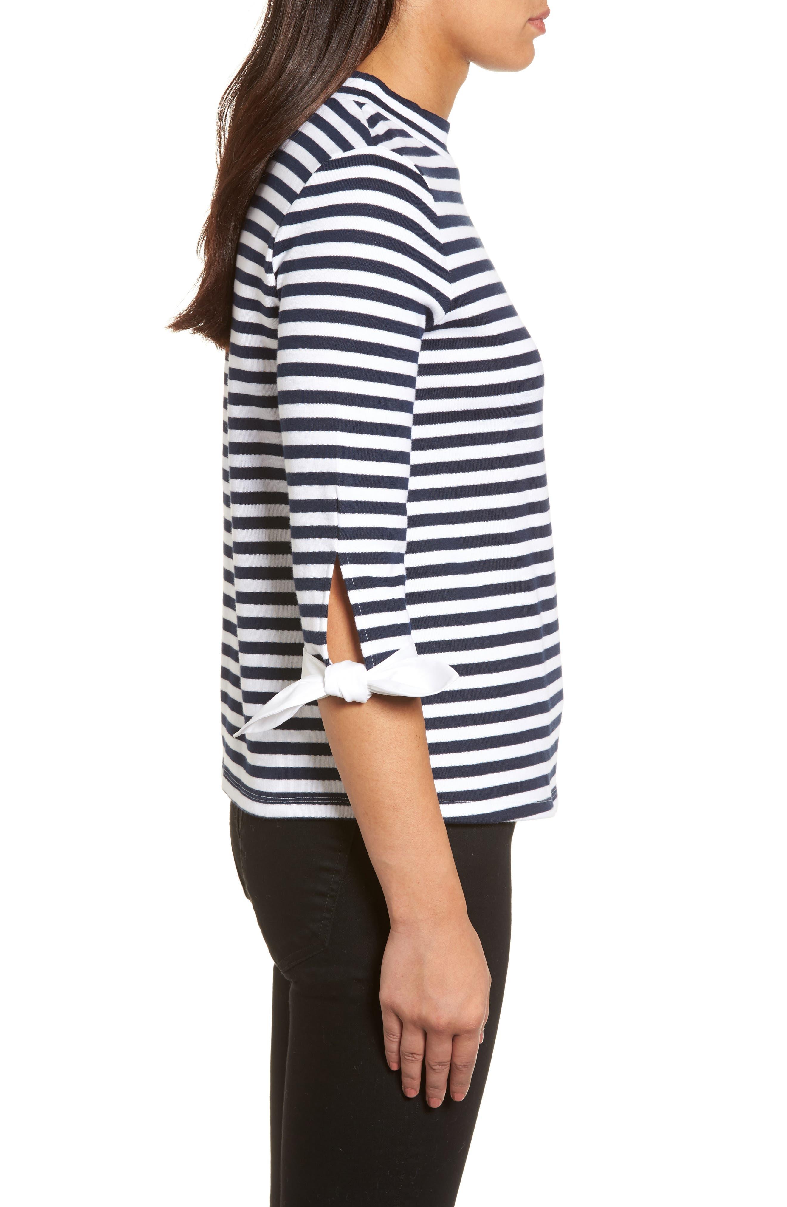 Poplin Tie Cuff Knit Top,                             Alternate thumbnail 3, color,                             Navy- White Stripe