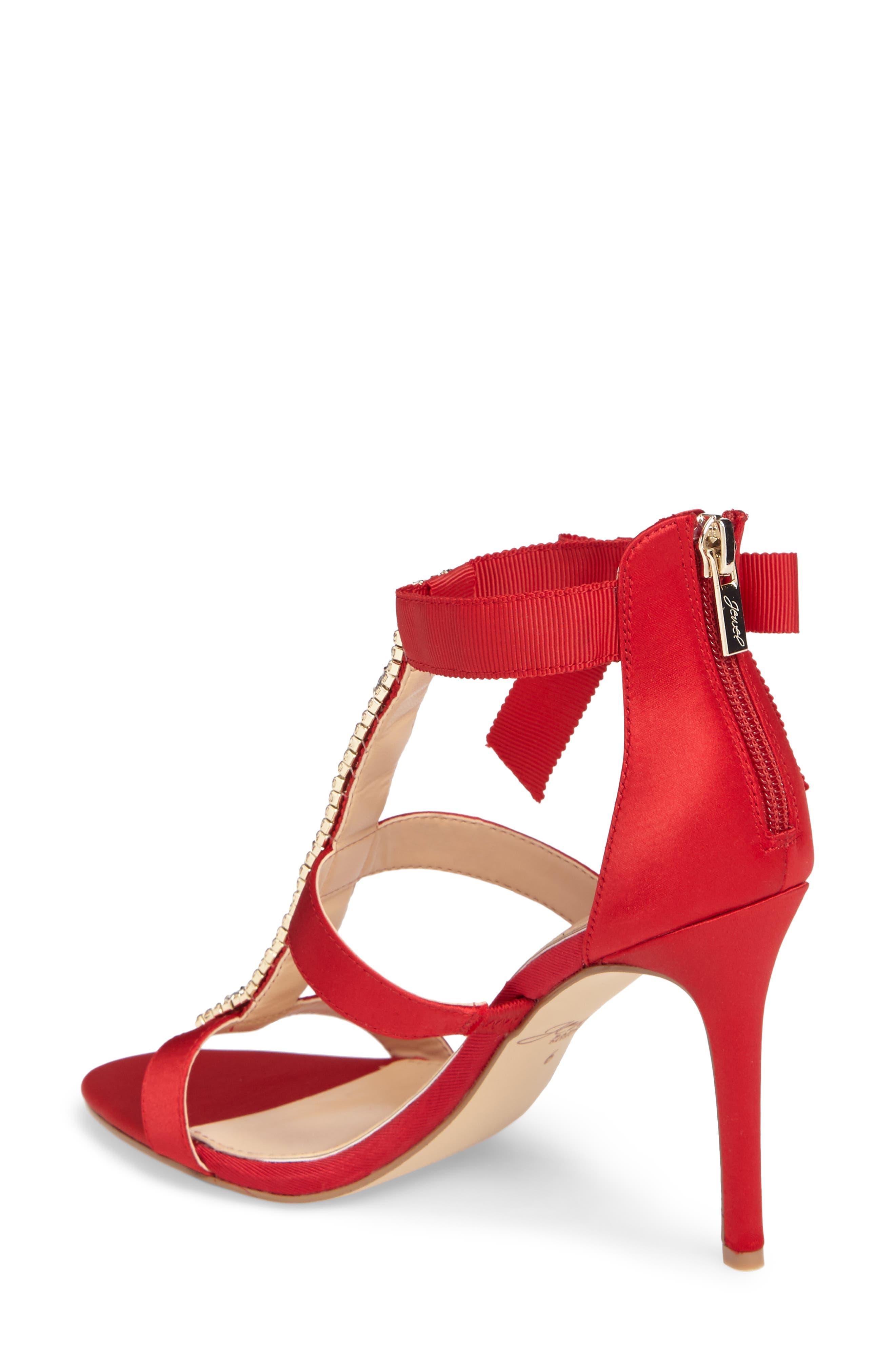 Henderson Embellished Bow Sandal,                             Alternate thumbnail 2, color,                             Red Satin