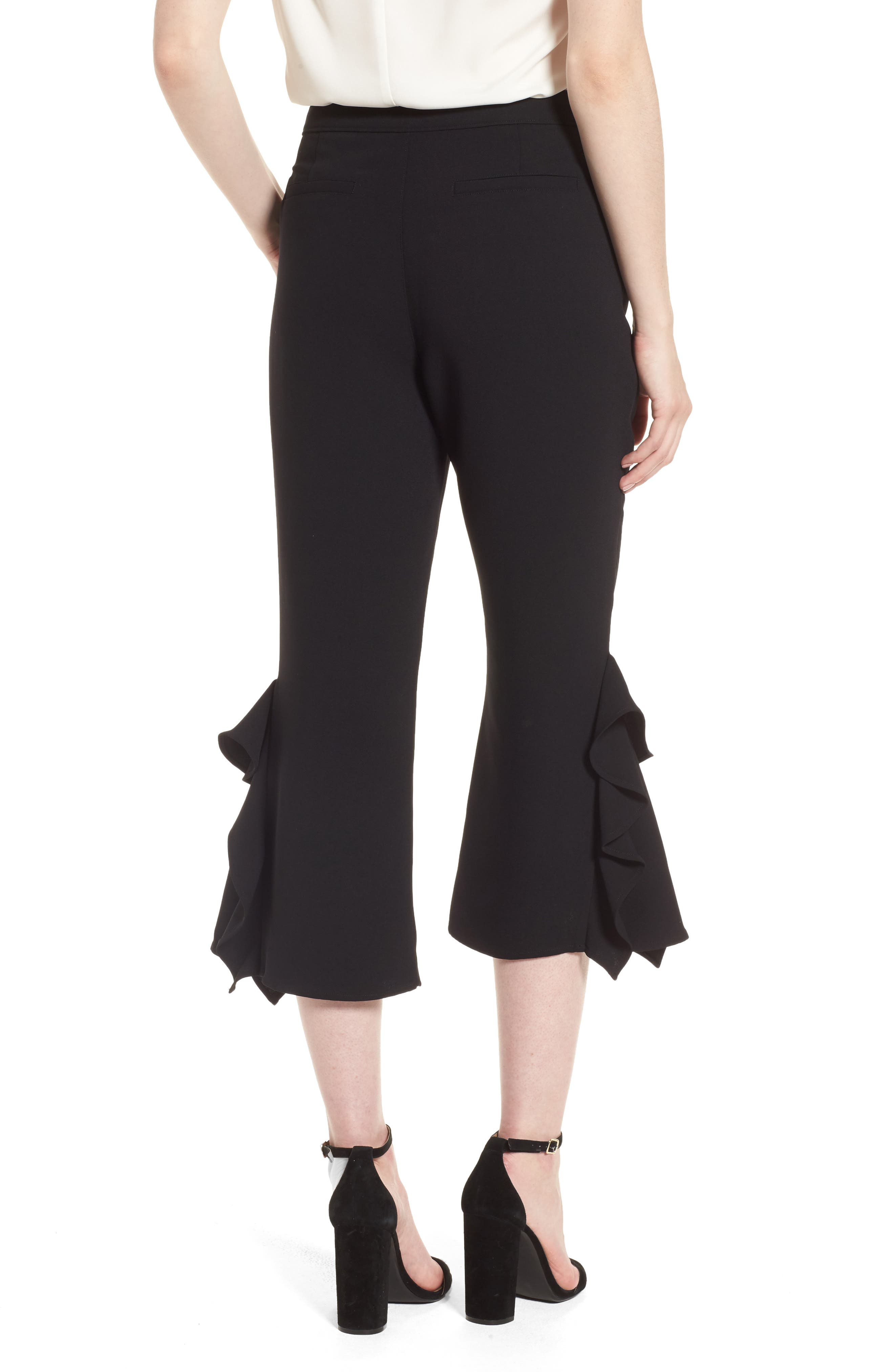Ruffle Crop Pants,                             Alternate thumbnail 2, color,                             Black