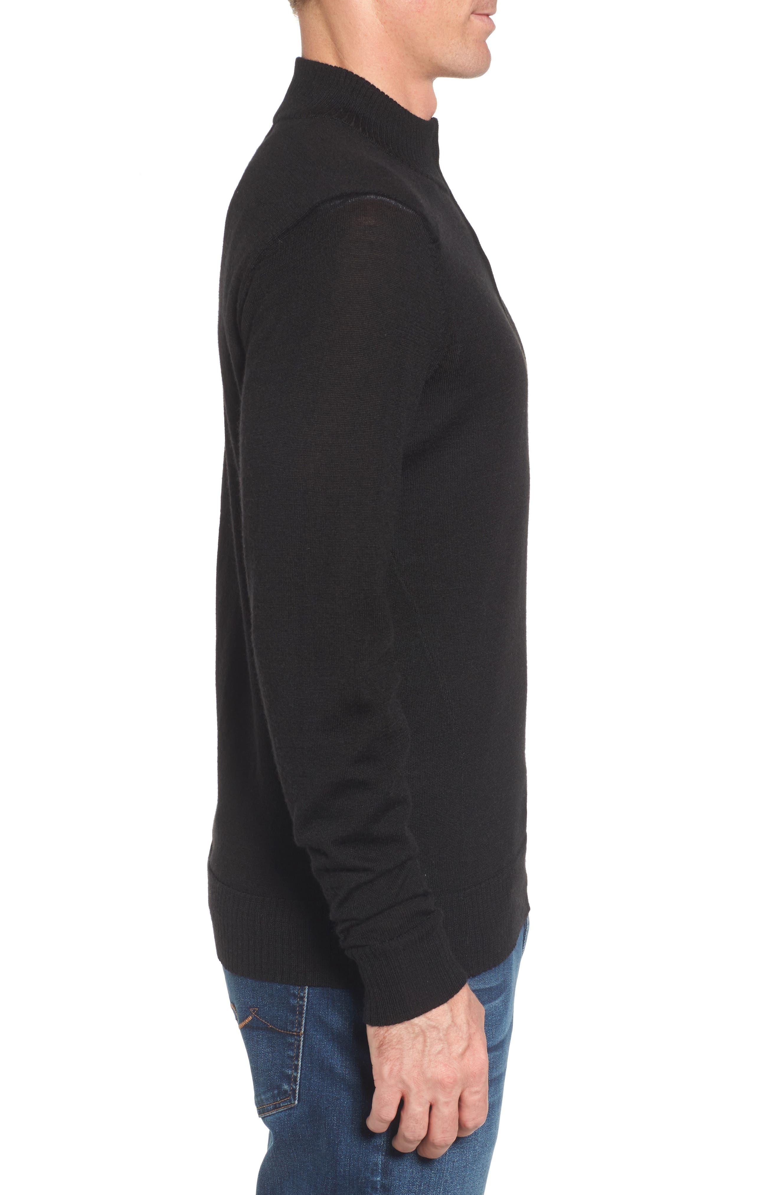 Kiva Ridge Merino Wool Blend Pullover,                             Alternate thumbnail 3, color,                             Black