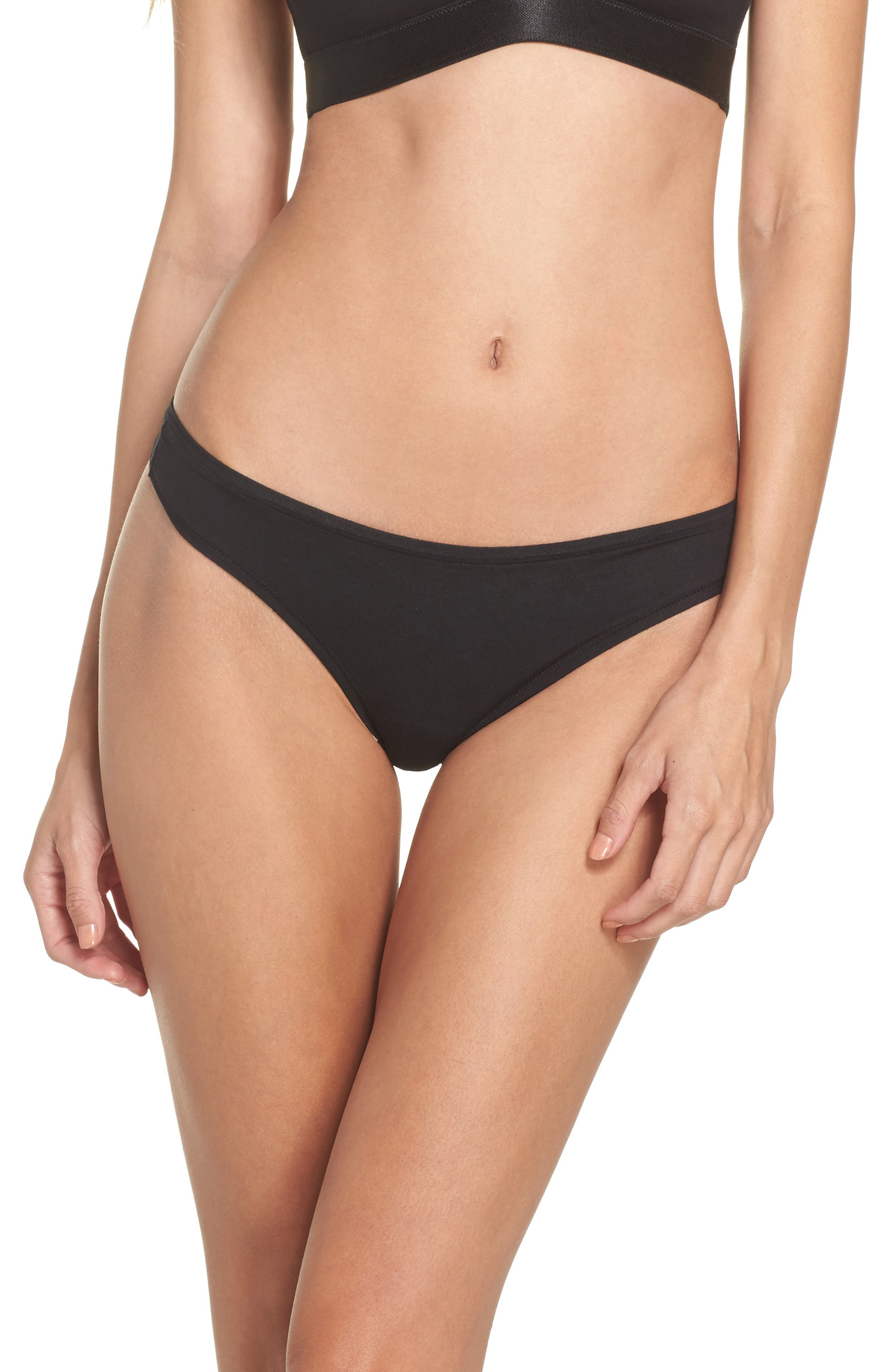 Micromodal Thong,                             Main thumbnail 1, color,                             Black