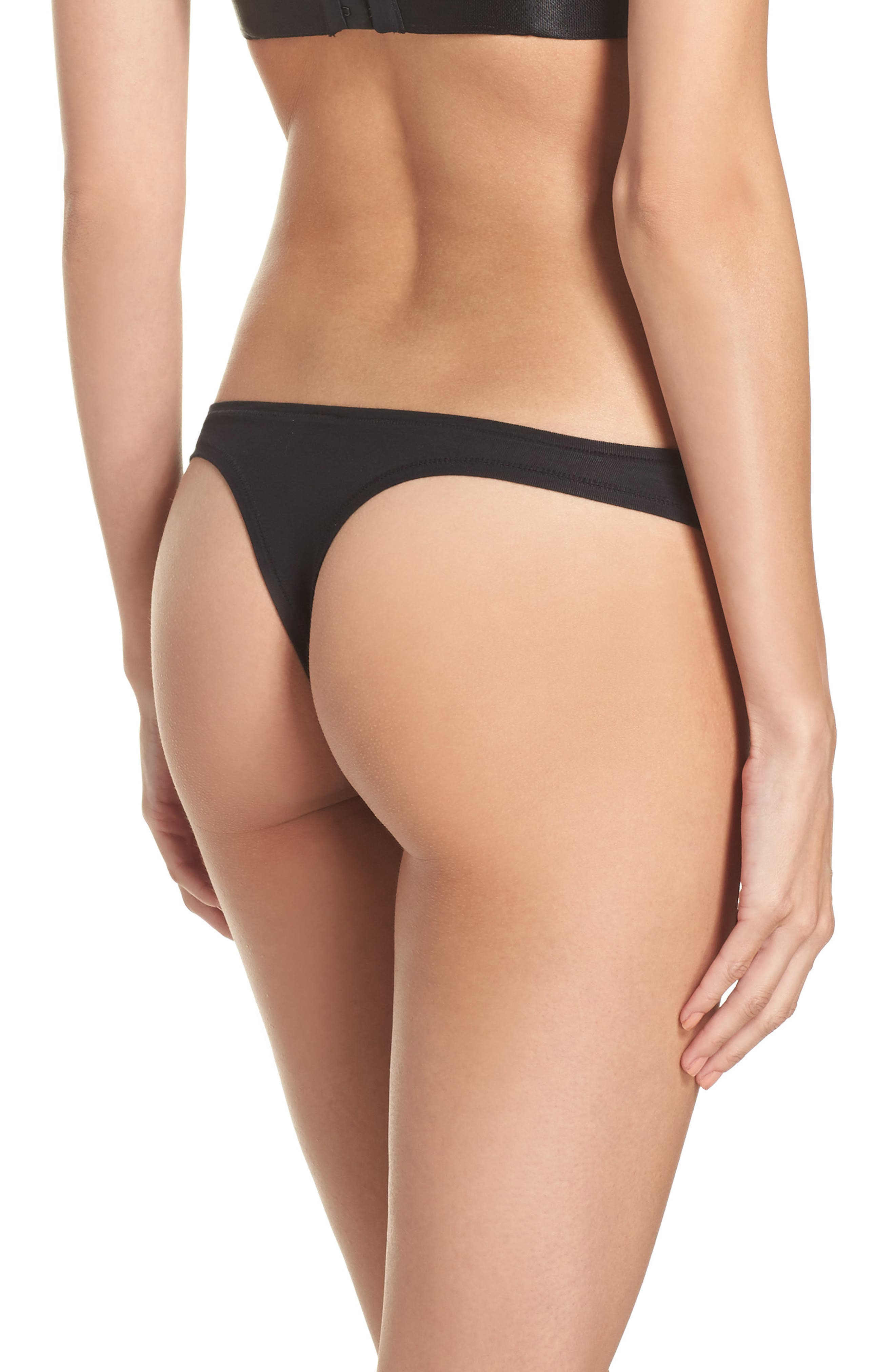 Micromodal Thong,                             Alternate thumbnail 2, color,                             Black