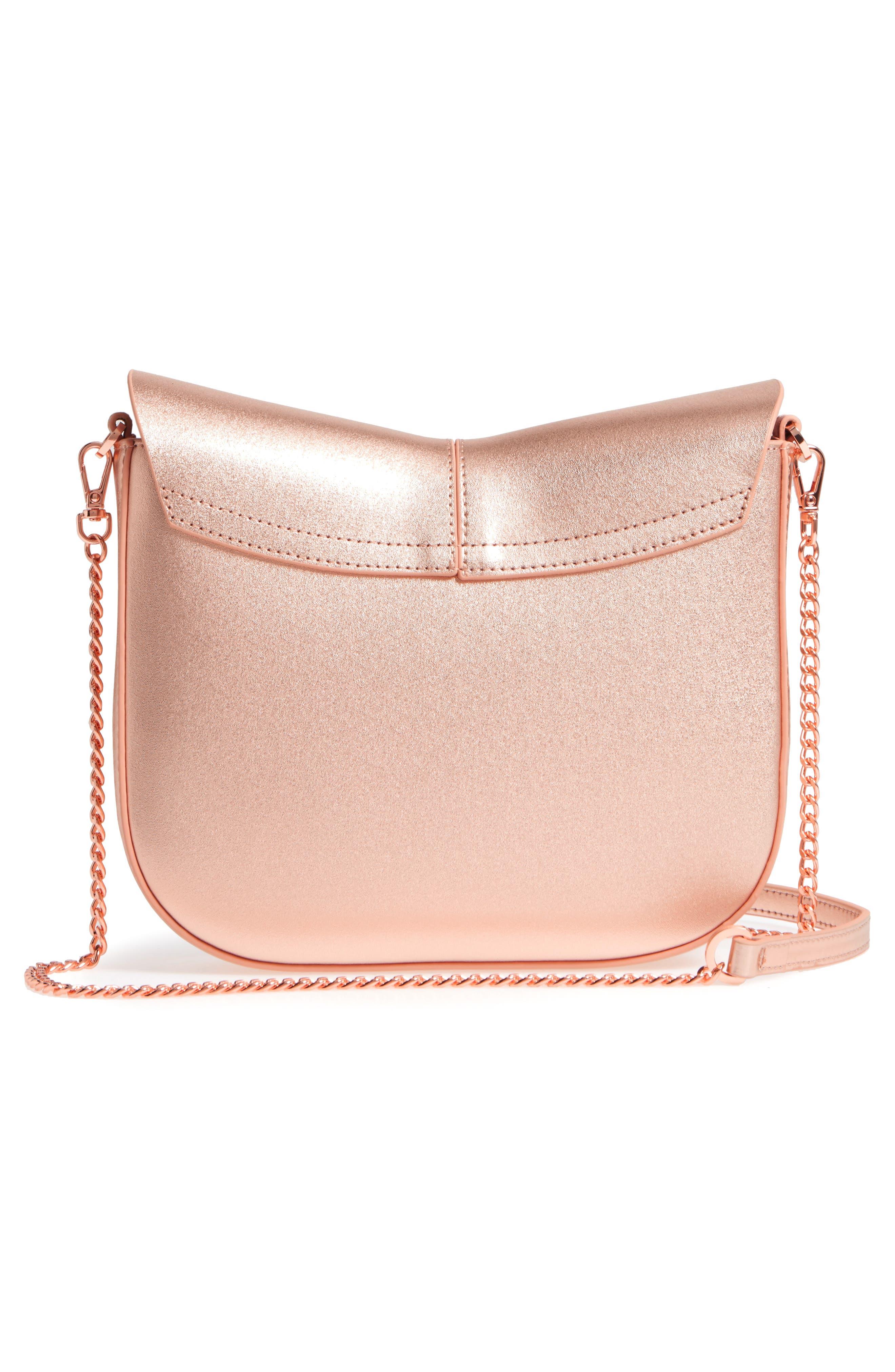 Kittii Cat Leather Crossbody Bag,                             Alternate thumbnail 3, color,                             Rose Gold